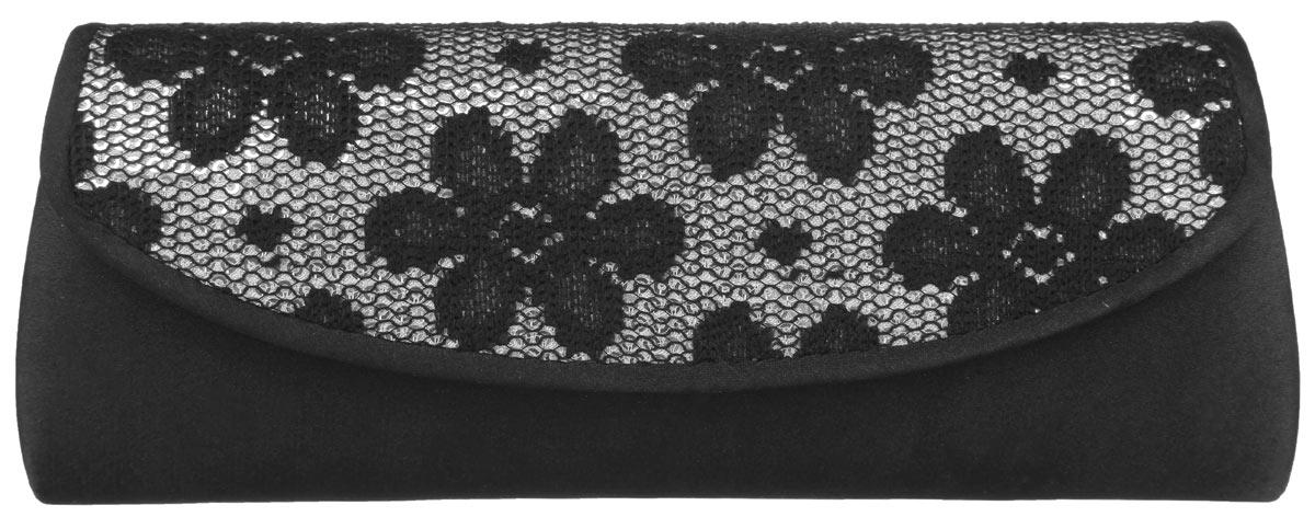 Клатч Fabretti, цвет: черный. WK12047DWK12047D-blackЭлегантный вечерний клатч Fabretti выполнен из полиэстера. Клатч оформлен кружевной вставкой с пайетками. Изделие содержит одно отделение и закрывается клапаном на магнитную кнопку. Внутри расположен накладной карман. Клатч оснащен укороченным наплечным ремнем-цепочкой. Клатч Fabretti прекрасно завершит ваш праздничный образ.