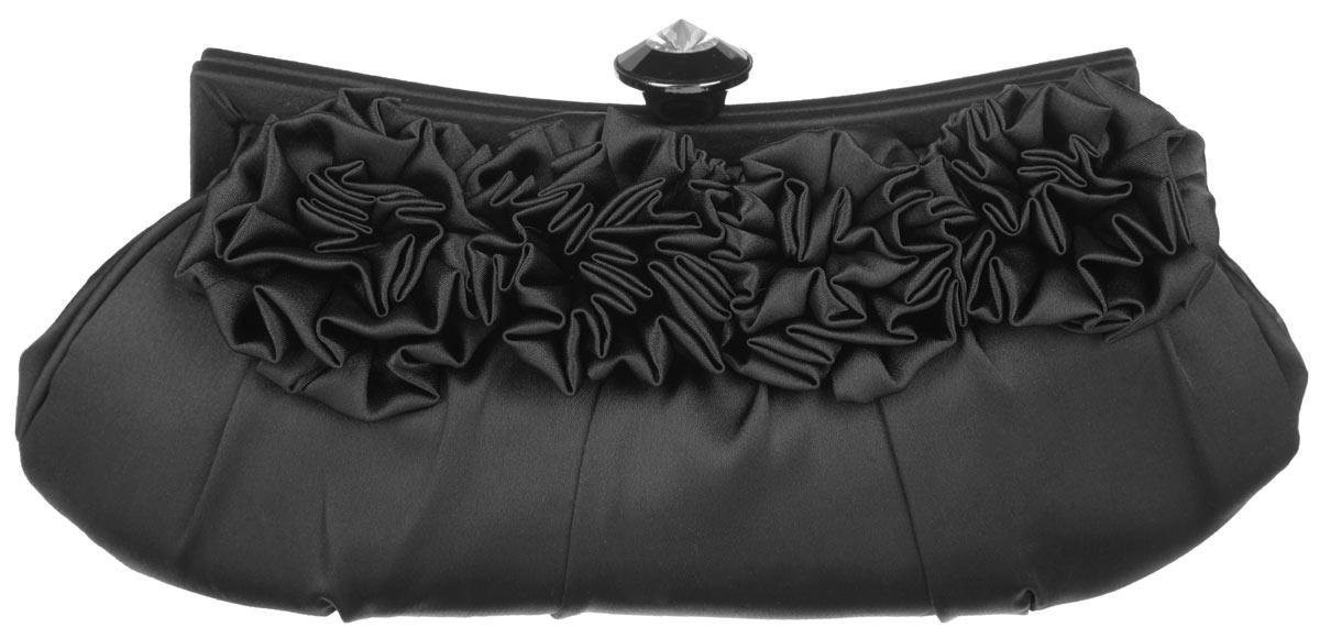 Клатч Fabretti, цвет: черный. WL8720WL8720-blackЭлегантный вечерний клатч Fabretti выполнен из полиэстера. Клатч оформлен четырьмя оригинальными цветками из полиэстера. Изделие содержит одно отделение, закрывается на рамочный замок, который дополнен граненым кристаллом. Клатч оснащен укороченным наплечным ремнем-цепочкой. Клатч Fabretti прекрасно завершит ваш праздничный образ.