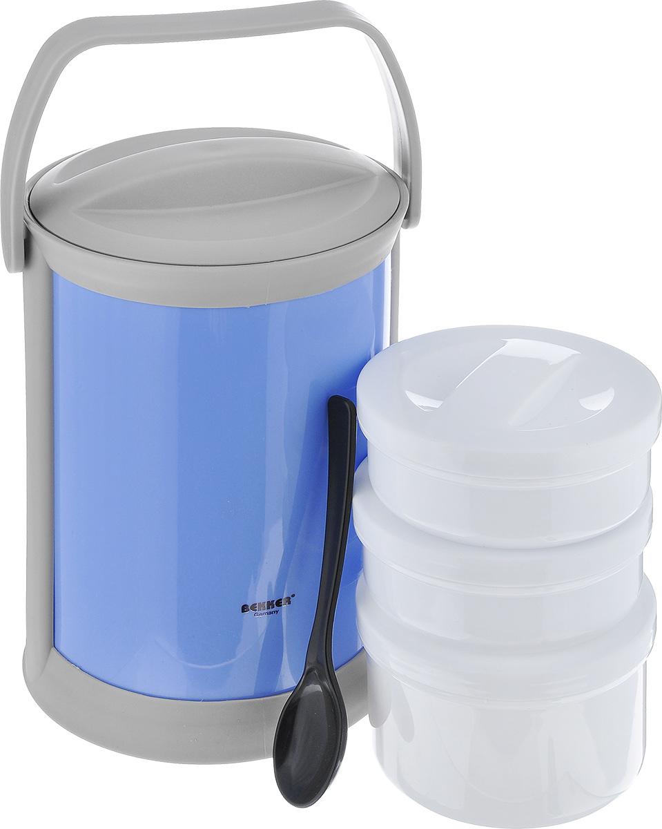 Термоконтейнер Bekker, цвет: голубой, 1,8 лBK-4338_голубойТермоконтейнер Bekker изготовлен из высококачественного пищевого пластика. Предназначен для хранения пищевых продуктов, для этого предусмотрены три круглые емкости с крышками, которые позволяют хранить сразу три разных блюда. Двойные стенки термоконтейнера поддерживают температуру продуктов до 3-4 часов. Контейнер снабжен удобной ручкой для переноски, а также ложкой, которая крепится в специальное отверстие снаружи корпуса. Стильный функциональный термос будет незаменим в дороге, на пикнике. Его можно взять с собой куда угодно, и вы всегда сможете наслаждаться горячей домашней пищей. Объем емкостей: 300 мл, 300 мл, 500 мл. Размер емкостей: 11 см х 11 см х 4,5 см; 11 см х 11 см х 7 см. Длина ложки: 16 см. Размер термоконтейнера: 15 см х 15 см х 24 см.
