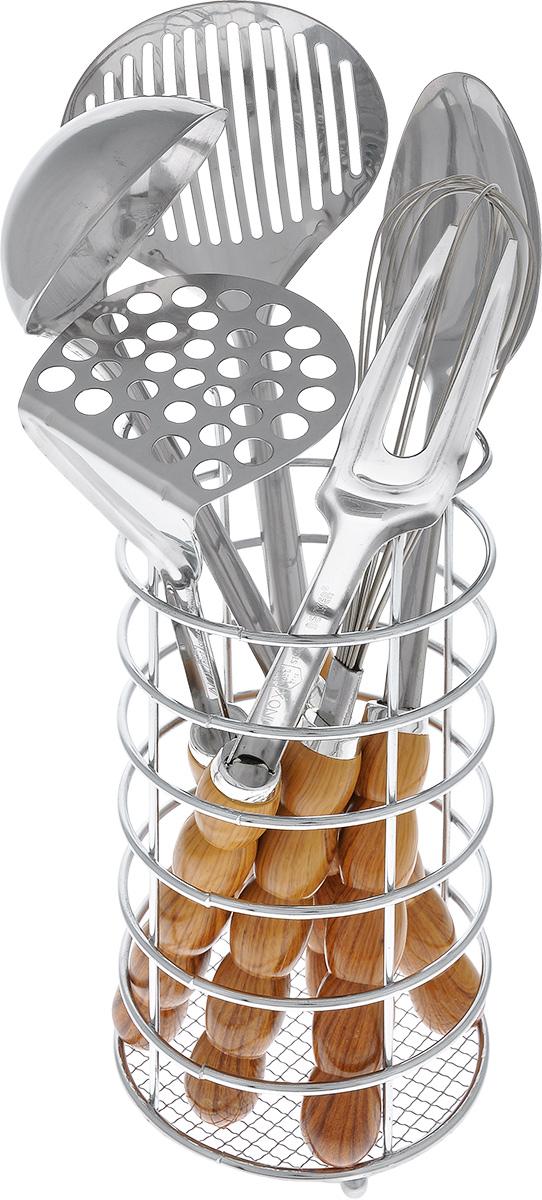 Набор кухонных принадлежностей Bekker, цвет: светло-коричневый, 7 предметов. BK-414BK-414_светло-коричневыйНабор кухонных принадлежностей Bekker состоит из картофелемялки, ложки, супового половника, вилки, шумовки, венчика и подставки. Изделия выполнены из нержавеющей стали и снабжены рельефными пластиковыми рукоятками под дерево. Для приборов предусмотрена специальная подставка. В наборе содержатся все необходимые на кухне принадлежности, которые могут вам в приготовлении пищи. Стильный дизайн сделает такой набор отличным украшением кухни. Изделия можно мыть в посудомоечной машине. Длина приборов: 29-34 см. Размер подставки: 11,5 см х 11,5 см х 21 см.