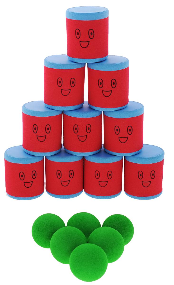 Safsof Игровой набор Городки цвет красный синий зеленыйAT-01N(B)_красный, синий, зеленыйИгровой набор Safsof Городки, изготовленный из вспененного полимера, состоит из десяти ярких банок и шести мячиков. Цель игры: выбить как можно больше фигур, построенных из трех и более городков (банок), мячами с определенного расстояния. Каждый участник сбивает фигуру с одного и того же расстояния, на каждую фигуру дается три броска. Если игроку удается сбить фигуру с первого броска, он получает 3 балла, со второго - 2 и с третьего - 1. Выигрывает тот участник, который набирает большее количество баллов. Благодаря яркой расцветке и легкому и безопасному материалу, с этим набором можно играть не только на улице, но и дома. Набор поставляется в удобной пластиковой сумке с ручками.