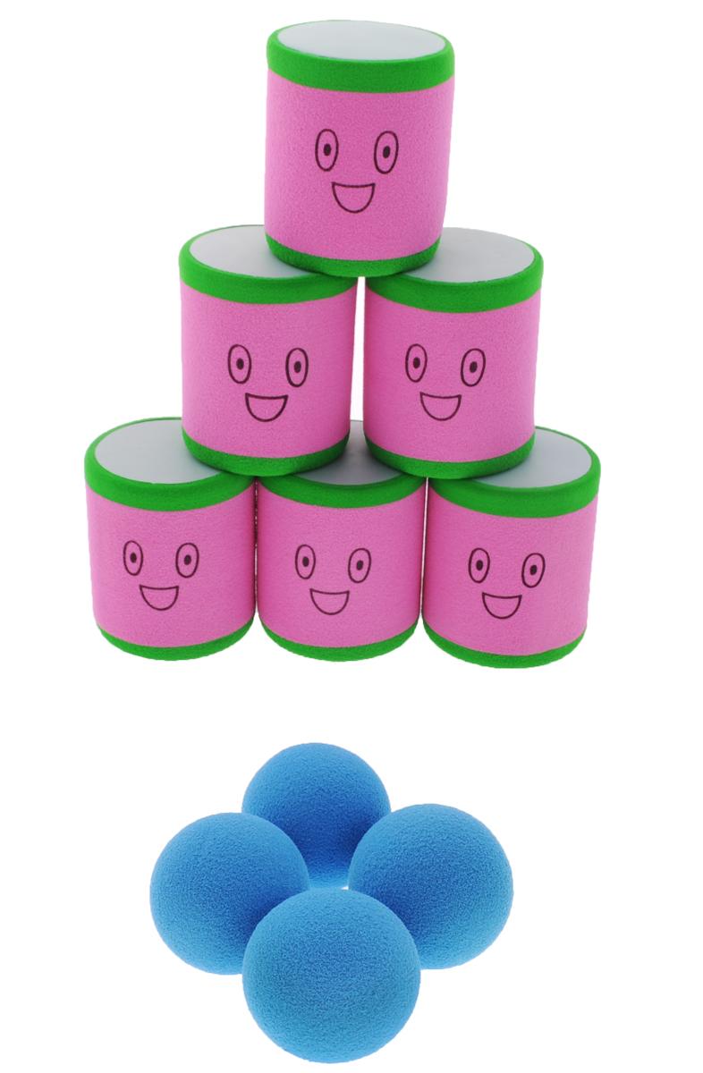Safsof Игровой набор Городки розовый зеленый голубойAT-02N(B)_розовый, зеленый, голубойИгровой набор Safsof Городки, изготовленный из вспененного полимера, состоит из шести ярких банок и четырех мячиков. Цель игры: выбить как можно больше фигур, построенных из трех и более городков (банок), мячами с определенного расстояния. Каждый участник сбивает фигуру с одного и того же расстояния, на каждую фигуру дается три броска. Если игроку удается сбить фигуру с первого броска, он получает 3 балла, со второго - 2 и с третьего - 1. Выигрывает тот участник, который набирает большее количество баллов. Благодаря яркой расцветке и легкому и безопасному материалу, с этим набором можно играть не только на улице, но и дома. Набор поставляется в удобной пластиковой сумке с ручками.