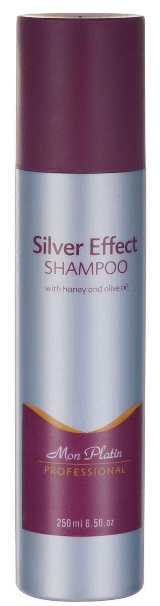 Mon Platin Professional Шампунь «Эффект серебра» 250млMP573Шампунь предназначен специально для седых волос, а также для волос, имеющих желтоватый или серебристый оттенок. Приглушает белые и жёлтые тона, придает волосам мягкость, блеск и жизненные силы. Обогащён оливковым маслом, мёдом и аминокислотами, способствующими нейтрализации жёлтых и белых оттенков волос.