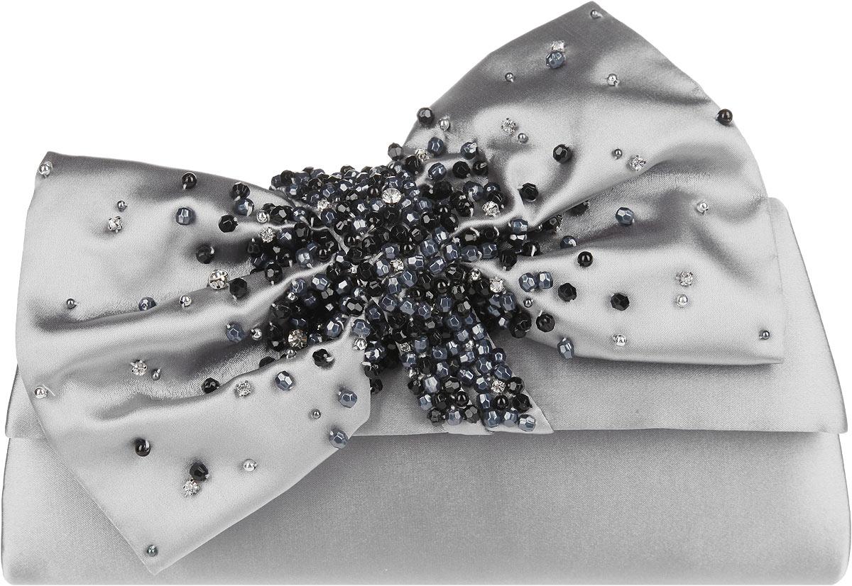 Клатч женский Eleganzza, цвет: серый. ZZ-15585B-1ZZ-15585B-1Стильный женский клатч Eleganzza выполнен из полиэстера. Изделие имеет одно основное отделение, внутри которого имеется открытый накладной карман. Закрывается клатч на клапан с магнитной кнопкой. Клапан оформлен декоративным текстильным бантом, украшенным стразами и бусинами. Модель оснащена плечевым ремнем в виде цепочки. Роскошный клатч внесет элегантные нотки в ваш образ и подчеркнет ваше отменное чувство стиля.