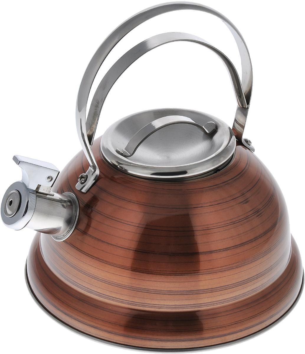 Чайник Bekker De Luxe, со свистком, цвет: оранжевый, 2,5 лBK-S428_оранжевыйЧайник Bekker De Luxe изготовлен из высококачественной нержавеющей стали с цветным зеркальным покрытием в полоску. Капсулированное дно распределяет тепло по всей поверхности, что позволяет чайнику быстро закипать. Крышка и эргономичная фиксированная ручка выполнены из нержавеющей стали. Носик оснащен откидным свистком, который подскажет, когда закипела вода. Подходит для всех типов плит, кроме индукционных. Можно мыть в посудомоечной машине. Диаметр чайника (по верхнему краю): 10 см. Диаметр основания: 22 см. Толщина стенки: 0,4 мм. Высота чайника (без учета ручки и крышки): 11,5 см. Высота чайника (с учетом ручки и крышки): 23,5 см.