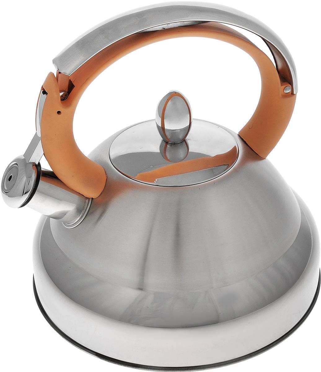 Чайник Bekker De Luxe, со свистком, цвет: бежевый, 2,7 л. BK-S473 (12)BK-S473 _бежевыйЧайник Bekker De Luxe изготовлен из высококачественной нержавеющей стали 18/10. Внешняя поверхность матовая с зеркальной полоской по нижнему краю. Капсулированное дно распределяет тепло по всей поверхности, что позволяет чайнику быстро закипать. Эргономичная фиксированная ручка выполнена из нержавеющей стали и бакелита с прорезиненным цветным покрытием. Носик оснащен откидным свистком, который подскажет, когда закипела вода. Свисток открывается нажатием на рукоятку. Подходит для газовых, стеклокерамических, галогеновых, электрических плит. Не подходит для индукционных. Можно мыть в посудомоечной машине. Диаметр (по верхнему краю): 9 см. Диаметр основания: 22 см. Высота чайника (без учета ручки): 12 см. Высота чайника (с учетом ручки): 23,5 см.