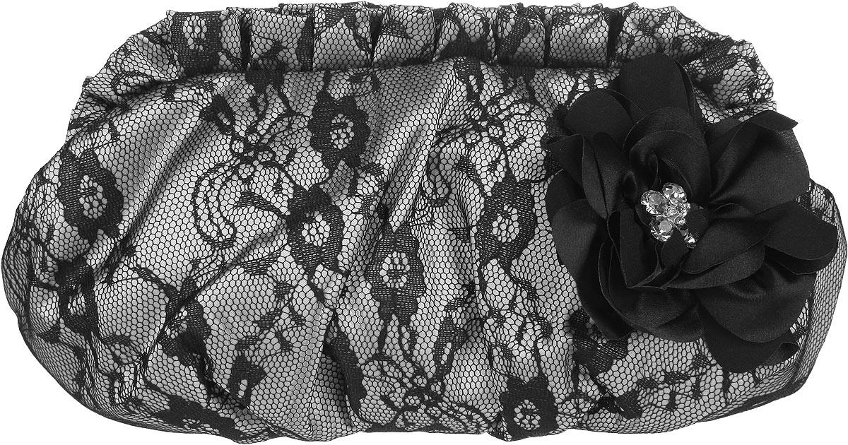 Клатч Fabretti, цвет: серый, черный. 86538653 greyЭлегантный вечерний клатч Fabretti выполнен из полиэстера. Изделие оформлено кружевом и оригинальным элементом в виде цветка, который дополнен стразами. Клатч содержит одно отделение и закрывается на рамочный замок декорированный кристаллами. Внутри расположено вместительное отделение, в котором размещен накладной карман. Клатч оснащен укороченным наплечным ремнем-цепочкой. Клатч Fabretti прекрасно завершит ваш праздничный образ.