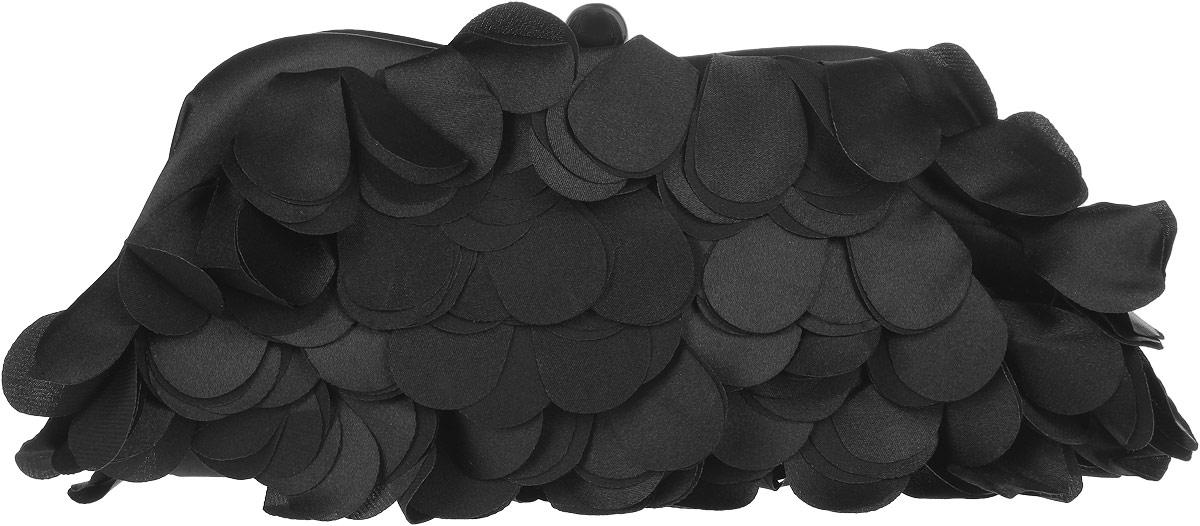 Клатч Fabretti, цвет: черный. WL8478-1WL8478-1 blackЭлегантный вечерний клатч Fabretti выполнен из полиэстера. Лицевая сторона изделия оформлена оригинальными нашивками из полиэстера в форме лепестков. Изделие содержит одно отделение и закрывается на рамочный замок. Внутри расположен накладной карман. Клатч оснащен укороченным наплечным ремнем-цепочкой. Клатч Fabretti прекрасно завершит ваш праздничный образ.