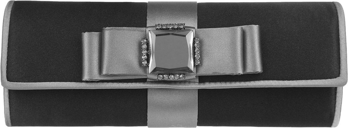 Клатч Fabretti, цвет: черный, серый. WL70954-5WL70954-5-black/greyЭлегантный вечерний клатч Fabretti выполнен из полиэстера. Изделие оформлено кокетливым бантиком, который дополнен оригинальным элементом с кристаллами. Изделие содержит одно отделение и закрывается клапаном на магнитную кнопку. Внутри расположен накладной карман. Клатч оснащен укороченным наплечным ремнем-цепочкой. Клатч Fabretti прекрасно завершит ваш праздничный образ.