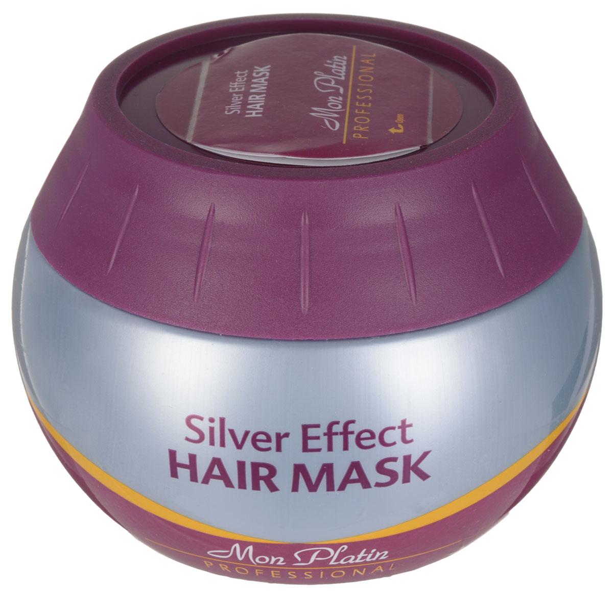 """Mon Platin Professional Маска для волос «Silver» 300млMP587Маска для устранения желтоватого оттенка с волос цвета """"блонд"""" и/или с мелированных/тонированных волос/. Подходит также для приглушения седины. Придает волосам мягкость, эластичность, блеск и здоровый вид. Маска содержит увлажняющий комплекс, прополис, оливковое масло и мед."""