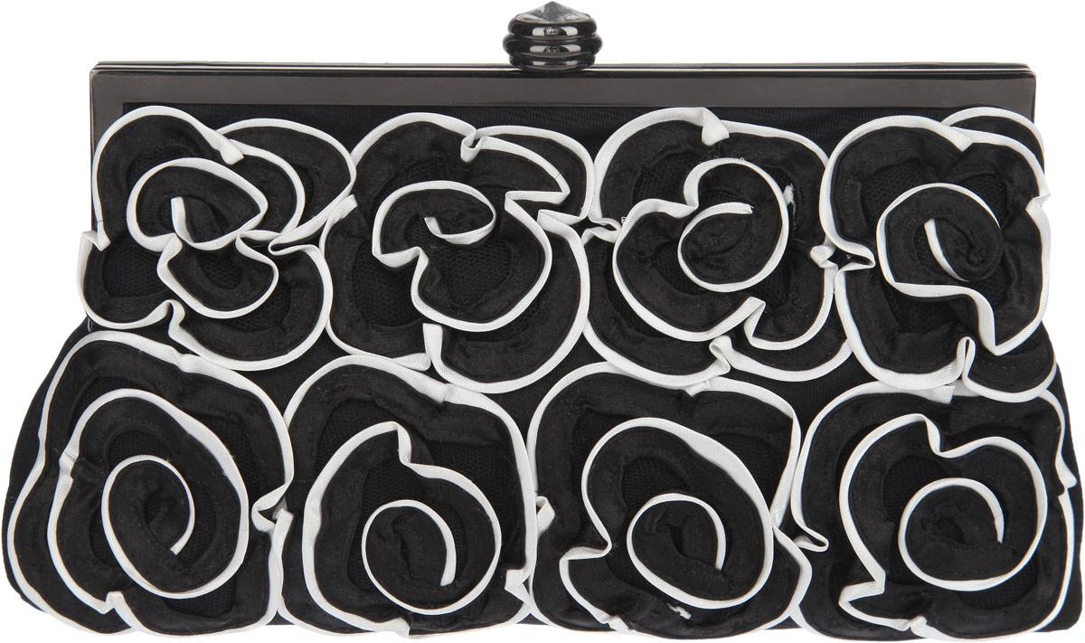 Клатч Fabretti, цвет: черный, белый. WL8657-3WL8657-3-black/whiteЭлегантный вечерний клатч Fabretti выполнен из полиэстера и металла. Изделие оформлено оригинальными цветами из полиэстера и пластиковым кристаллом. Изделие содержит одно отделение и закрывается на рамочный замок. Внутри расположен накладной карман. Клатч оснащен укороченным наплечным ремнем-цепочкой. Клатч Fabretti прекрасно завершит ваш праздничный образ.