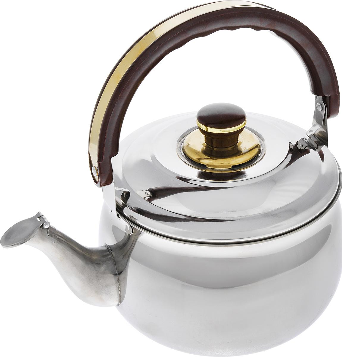 Чайник Mayer & Boch, со свистком, 4 л. 10371037Чайник Mayer & Boch выполнен из высококачественной нержавеющей стали 18/10, что делает его весьма гигиеничным и устойчивым к износу при длительном использовании. Капсулированное дно с прослойкой из алюминия обеспечивает наилучшее распределение тепла. Крышка чайника оснащена свистком, что позволит вам контролировать процесс подогрева или кипячения воды. Подвижная ручка чайника изготовлена из бакелита. Подходит для газовых, электрических и стеклокерамических плит. Не подходит для индукционных плит. Высота чайника (без учета ручки и крышки): 12,5 см. Высота чайника (с учетом ручки и крышки): 26,5 см. Диаметр чайника (по верхнему краю): 19 см.