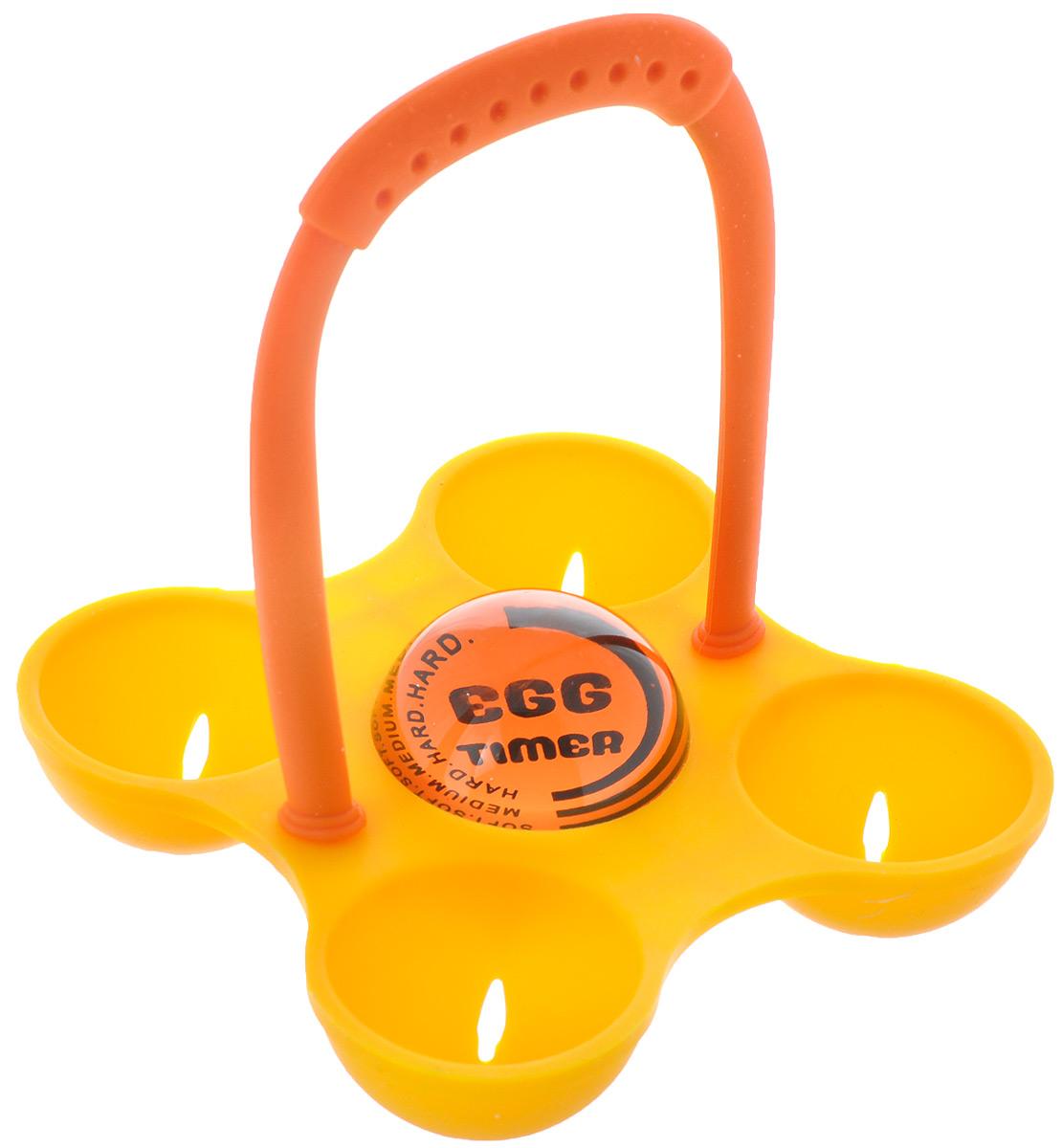 Яйцеварка Идея, с таймером, цвет: оранжевый, желтыйYZV-04Силиконовая яйцеварка Идея предназначена для варки от 1 до 4 яиц одновременно. С ее помощью, без особых усилий можно сварить яйца вкрутую, всмятку или в мешочек. Яйцеварка имеет приятную на ощупь, термостойкую ручку и подходит для куриных яиц любого размера. Она не впитывает запахи, не выделяет вредных веществ при нагревании или охлаждении и легко моется. Использование этого приспособления позволит вам сэкономить время и силы. Инструкция по использованию. Поместите яйца в ячейки, опустите яйцеварку в кастрюлю с холодной водой и варите до готовности. Следите за цветом таймера, для выбора нужной степени готовности: Белый цвет достигает первой черной линии - получаются яйца всмятку (около 9 минут после начала варки); Белый цвет достигает средней черной линии - получаются яйца в мешочек (около 12 минут после начала варки); Белый цвет достигает третьей черной линии - получаются яйца вкрутую (около 14 минут после начала варки); ...