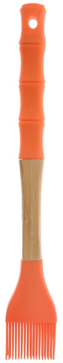 Кисть кулинарная Mayer & Boch, цвет: оранжевый, длина 29 см23164Кулинарная кисть Mayer & Boch выполнена из высококачественного силикона и бамбука и предназначена для смазывания противня и нанесения масла на кондитерские изделия, смазывания соусом и маринадом мяса и рыбы. Изделие безопасно для посуды с антипригарным и керамическим покрытием. Эргономичная рукоятка обеспечивает надежный хват. Кисть Mayer & Boch станет отличным дополнением к коллекции ваших кухонных аксессуаров. Общая длина кисти: 29 см. Длина ворсинок: 3 см.