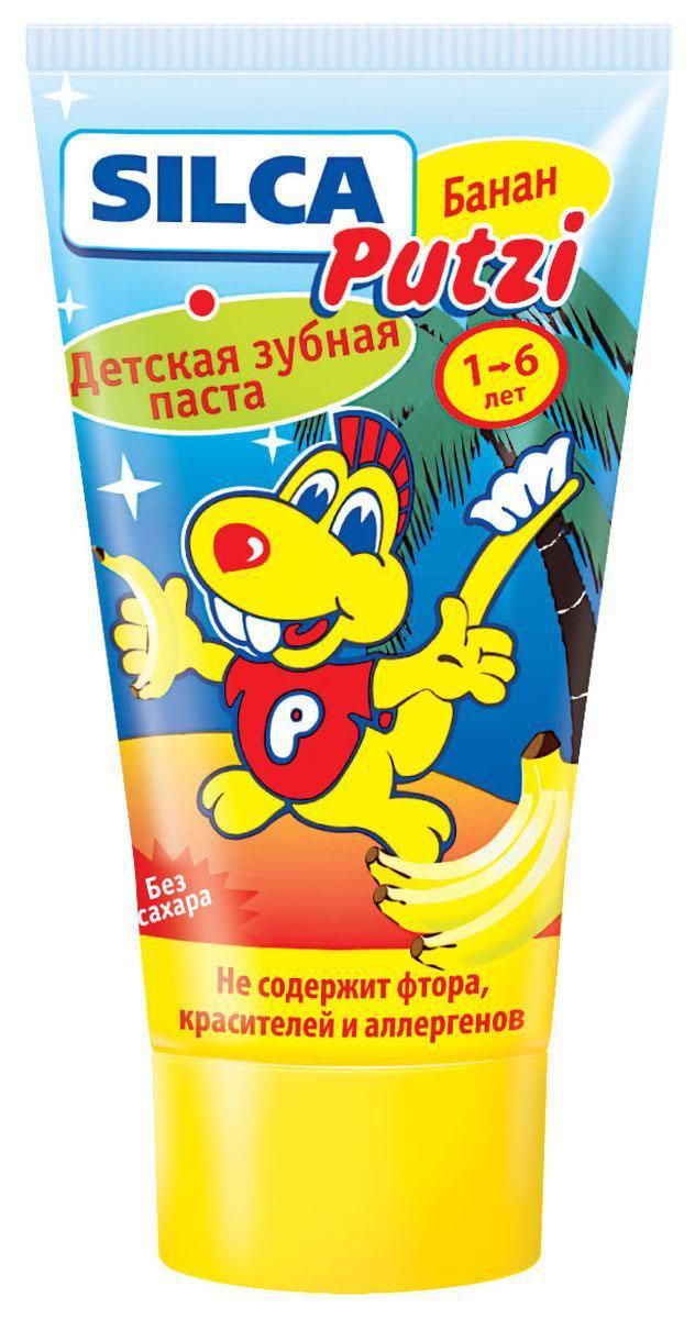 Silca Putzi Зубная паста Банан от 1 до 6 лет 50 мл13316Детская зубная паста Silca Putzi с нежным банановым вкусом и запахом, несомненно, порадует вашего ребенка. Низкая абразивность пасты делает ее абсолютно безопасной для неокрепшей детской эмали. Специально разработанный комплекс не травмирует желудок при случайном проглатывании. Паста не содержит сахара. Специально разработанная низкоабразивная рецептура на основе диоксида кремния нежно очищает неокрепшую эмаль детских зубов. Не содержит фтора, красителей, лаурилсульфата натрия, ментола и сахара. Рекомендуется для обучения детей чистке зубов и для регионов с повышенным содержанием фтора в воде. Вкус банана превращает процедуру чистки зубов в настоящее удовольствие. Товар сертифицирован.