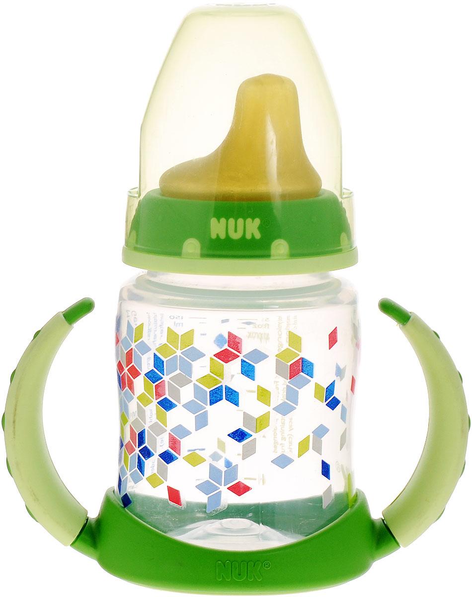 NUK Бутылочка-поильник First Choice с латексной насадкой 150 мл от 6 месяцев цвет салатовый10743391_салатовыйПластиковая обучающая бутылочка NUK First Choice разработана специально для малышей с 6 месяцев. Малыш легко перейдет от груди к бутылочке, а от бутылочки к самостоятельному питью. Мягкий носик-насадка со специальным отверстием для питья изготовлен из латекса и исключает протекание, а за съемные пластиковые ручки бутылочку очень удобно держать. Закупоривающий диск бутылочки легко вставляется в завинчивающееся кольцо, что позволяет бутылочке оставаться герметичной даже во время сильной встряски.
