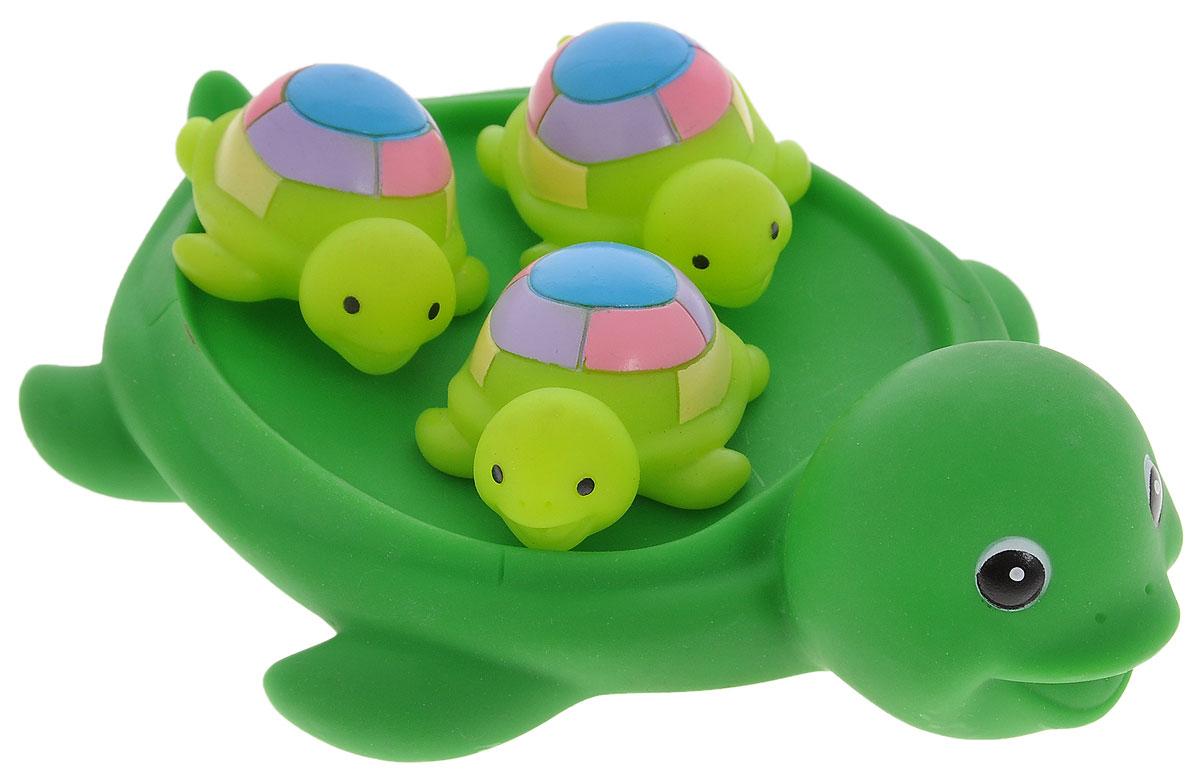 Затейники Набор игрушек для ванны СемьяGT2781Игрушки для ванны Затейники Семья превратят обычное купание в веселую игру! Набор состоит из одной большой черепахи и трех черепах-малышей. Маленькие черепахи легко умещаются на спинке большой черепахи. Яркие впечатления и звонкий смех станут постоянными во время купания. Игрушки выполнены из высококачественных материалов, поэтому они не принесут никакого вреда ребенку. Игрушка помогает развивать мелкую моторику, цветовосприятие и воображение.