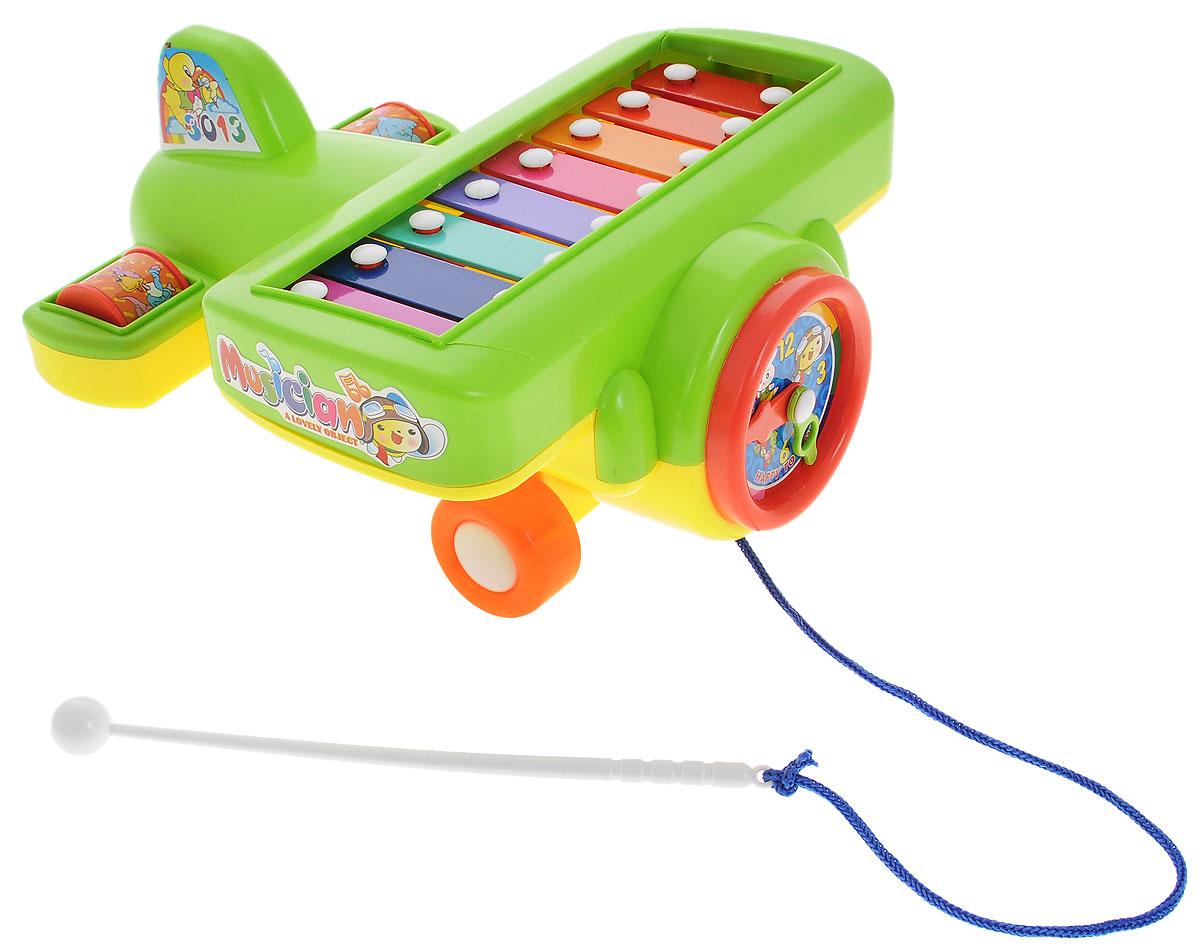 S+S Toys Музыкальная игрушка Ксилофон Самолет цвет салатовый00652527Ксилофон S+S Toys Самолет непременно порадует маленького музыканта. Он создан из современных и экологически безопасных материалов. Модель имеет яркий стиль и обязательно привлечет внимание малыша. Ксилофон выполнен в виде веселого самолетика на крыльях которого расположены восемь разноцветных клавиш. Удобная палочка-молоточек позволит вашему ребенку сочинять различные мелодии. Кроме того, игрушку можно катать, потянув за молоточек. Такая яркая музыкальная игрушка поможет ребенку развить слух, внимание, память и мелкую моторику.