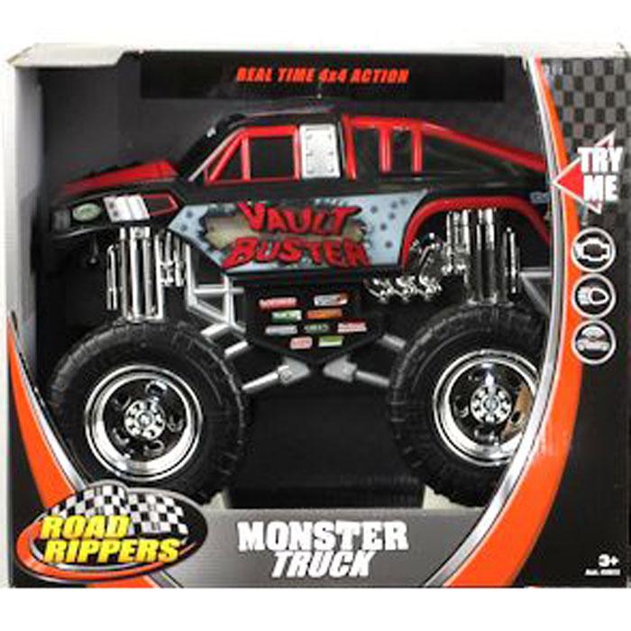 Toystate Машинка Vault Buster33612TS_черный, красныйЯркая машинка Toystate Vault Buster со звуковыми и световыми эффектами, несомненно, понравится вашему ребенку и не позволит ему скучать. Игрушка выполнена в виде мощного джипа с огромными колесами. При нажатии на кнопки, расположенные в кузове, светятся бортовые огни автомобиля, воспроизводятся звуки двигателя, играет заводная музыка, машинка выполняет трюки. Машинка оснащена инерционным механизмом. Ваш ребенок часами будет играть с машинкой, придумывая различные истории и устраивая соревнования. Порадуйте его таким замечательным подарком! Для работы игрушки необходимы 4 батарейки типа АА (товар комплектуется демонстрационными).