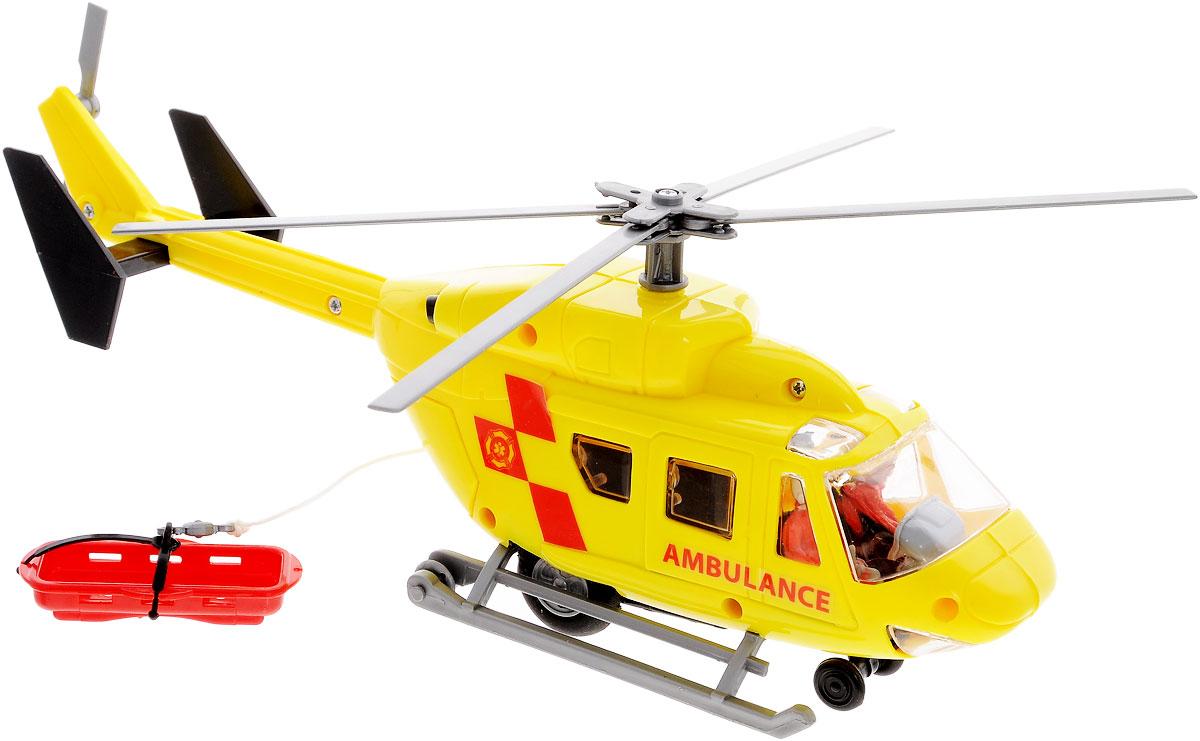 Dickie Toys Вертолет Спасатель3564966_желтыйИгрушка вертолет-спасатель с лебедкой и носилками компании непременно порадует малыша. Вертолет оснащен фрикционным механизмом, который приводит лопасти к вращению если потянуть лебедку. В его задней части расположены открывающиеся двери, за которыми скрывается выдвижная снаружи лебедка с механизмом выпуска и намотки лески. Вертолет дополнительно оснащен носилками, которые можно прицепить за крюк лебедки. Вертолет оснащен в колесами и полозьями, что позволяет ему приземляться на различных поверхностях, в кабине находятся две фигурки пилотов. Порадуйте своего ребенка таким замечательным подарком!
