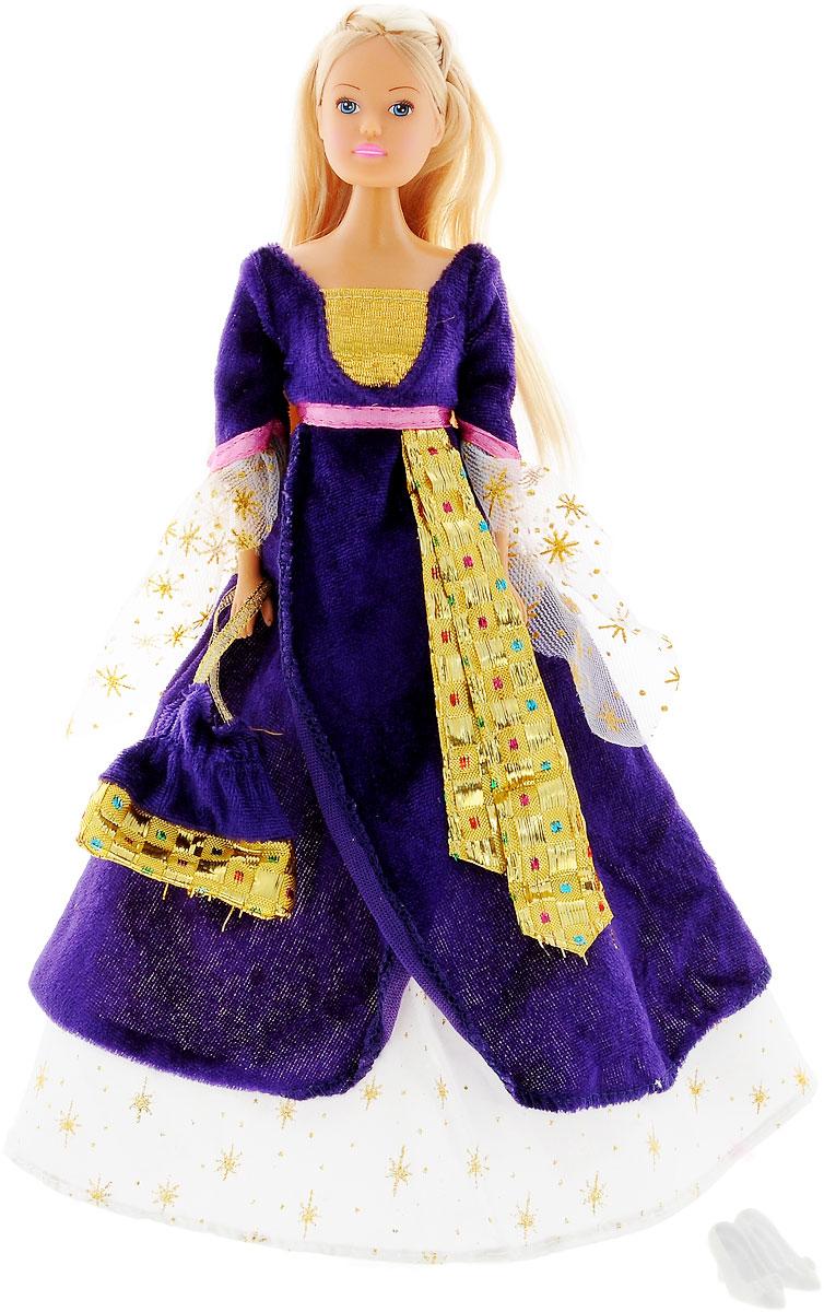 Simba Кукла Штеффи в Средневековье цвет платья темно-фиолетовый5736818_темно-фиолетовыйКукла Simba Штеффи в Средневековье надолго займет внимание вашей малышки и подарит ей множество счастливых мгновений. Кукла изготовлена из пластика, ее голова, ручки и ножки подвижны, что позволяет придавать ей разнообразные позы. Куколка одета в роскошное темно-фиолетовое платье сказочной принцессы, украшенное блестками. Волшебный образ дополняет сумочка-мешочек, оформленная оригинальным принтом и пара белых туфель. Чудесные длинные волосы куклы так весело расчесывать и создавать из них всевозможные прически, плести косички и хвостики. Благодаря играм с куклой, ваша малышка сможет развить фантазию и любознательность, овладеть навыками общения и научиться ответственности. Порадуйте свою принцессу таким прекрасным подарком!