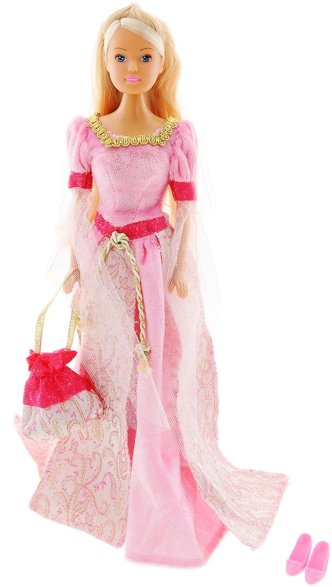 Simba Кукла Штеффи в Средневековье цвет платья розовый5736818_розовыйКукла Simba Штеффи в Средневековье надолго займет внимание вашей малышки и подарит ей множество счастливых мгновений. Кукла изготовлена из пластика, ее голова, ручки и ножки подвижны, что позволяет придавать ей разнообразные позы. Куколка одета в роскошное розовое платье сказочной принцессы, украшенное отстрочкой и блестками. Волшебный образ дополняет сумочка-мешочек, оформленная оригинальным принтом и пара туфель. Чудесные длинные волосы куклы так весело расчесывать и создавать из них всевозможные прически, плести косички и хвостики. Благодаря играм с куклой, ваша малышка сможет развить фантазию и любознательность, овладеть навыками общения и научиться ответственности. Порадуйте свою принцессу таким прекрасным подарком!