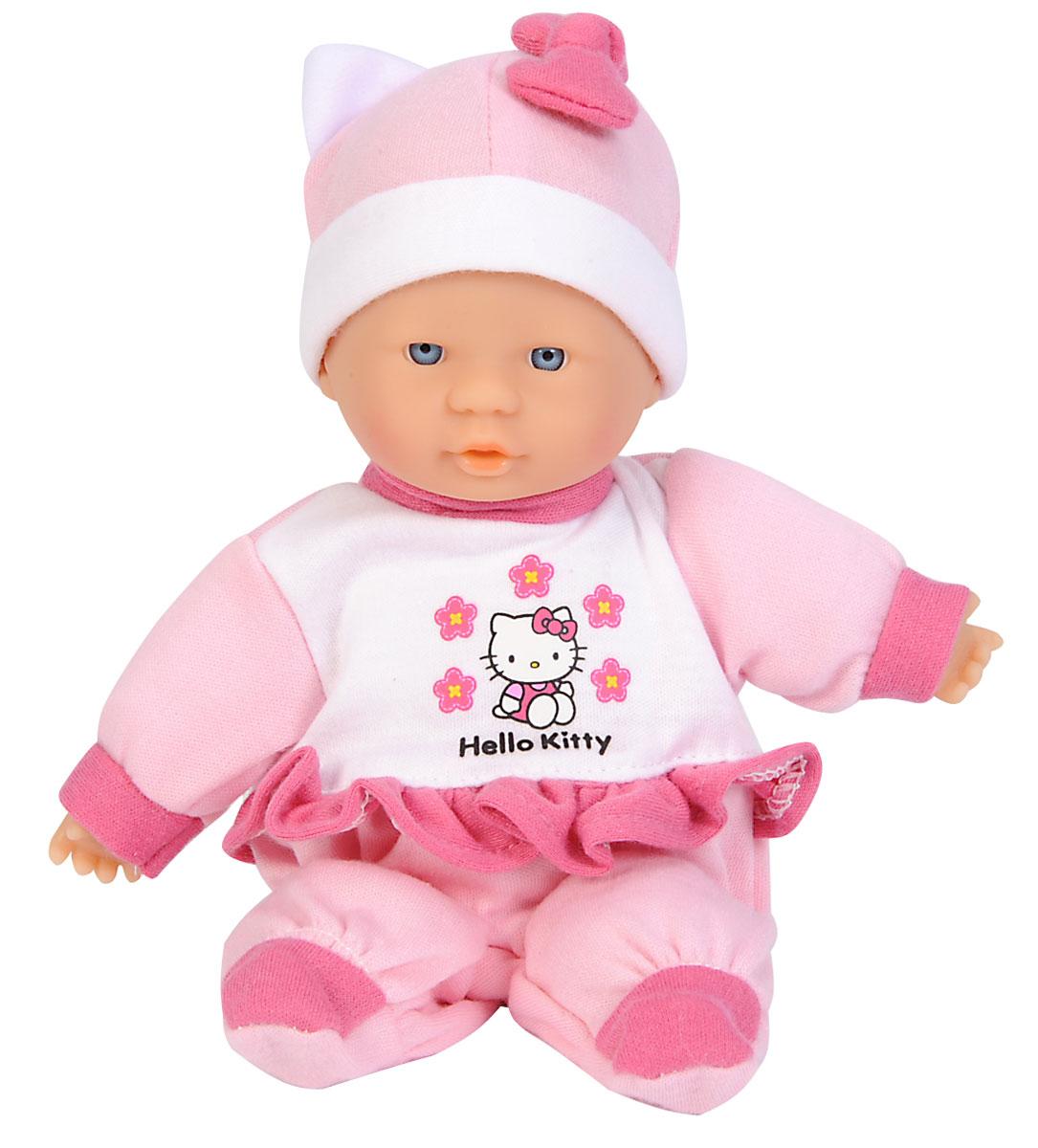 Simba Пупс Hello Kitty в розовом рюкзачке5016216_розовый рюкзакПупс Simba Hello Kitty непременно приведет в восторг вашу дочурку. Голова, ручки и ножки пупса выполнены из прочного пластика, а тело - мягконабивное. Очаровательный малыш одет в удобную кофточку, оформленную принтом с изображением кошечки Китти, а на голове у него - розовый чепчик из мягкого текстильного материала. Кукла упакована в удобный розовый рюкзачок с прозрачной передней стенкой, который вполне можно использовать в качестве отдельного аксессуара. Клапан рюкзачка оформлен объемной головой кошечки Китти и закрывается на застежку-липучку. Сзади рюкзак снабжен двумя удобными лямками и ручкой для переноски. Трогательный пупс принесет радость и подарит своей обладательнице мгновения нежных объятий. Игры с куклами способствуют эмоциональному развитию, помогают формировать воображение и художественный вкус, а также развивают в вашей малышке чувство ответственности и заботы. Великолепное качество исполнения делают эту куколку чудесным подарком к...