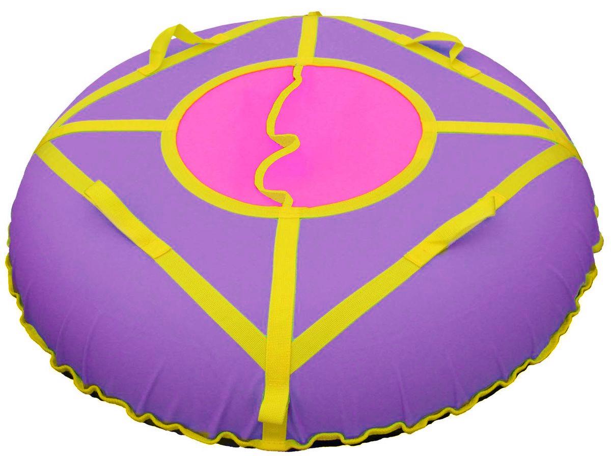 Тюбинг Super Jet Tubing Ultra, цвет: фиолетовый, желтый, розовый, диаметр 105 смSJT-105TOТюбинг для взрослых Super Jet Tubing Ultra предназначен для зимнего катания. Центральный сектор защищает от попадания снега внутрь тюбинга и состоит из двух частей внахлест без дополнительных застежек. Верхняя часть изготовлена из водонепроницаемого материала Oxford 600D из полиамидных волокон с полиуретановой пропиткой и обладает высокой стойкостью к истиранию, сохраняя гибкость и легкость. Нижняя часть изготавливается из прочного южнокорейского тентового ПВХ плотностью 650 г/м2. Этот материал при достаточной плотности и стойкости к истиранию, обладает великолепными скользящими свойствами. Конструкция этой модели усилена с помощью 8 нейлоновых лент шириной 3 см, на которых расположены 4 мягкие нейлоновые ручки и 2 петли для крепления буксировочной ленты. Прилагается буксировочная нейлоновая лента шириной 3 см и длиной 1,2 метра из нейлона с двумя петлями по концам для крепления к тюбингу. Диаметр чехла в сдутом состоянии: 120 см. Диаметр тюбинга в надутом...