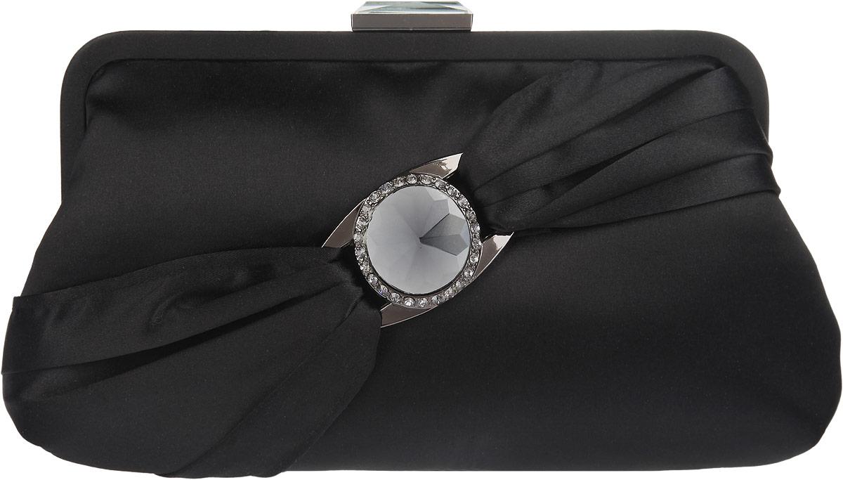 Клатч Fabretti, цвет: черный. WL8733WL8733-blackЭлегантный вечерний клатч Fabretti выполнен из полиэстера. Изделие оформлено оригинальным элементом, который дополнен стразами. Изделие содержит одно отделение и закрывается на рамочный замок декорированный кристаллом. Внутри расположено вместительное отделение, в котором размещен накладной карман. Клатч оснащен укороченным наплечным ремнем-цепочкой. Клатч Fabretti прекрасно завершит ваш праздничный образ.