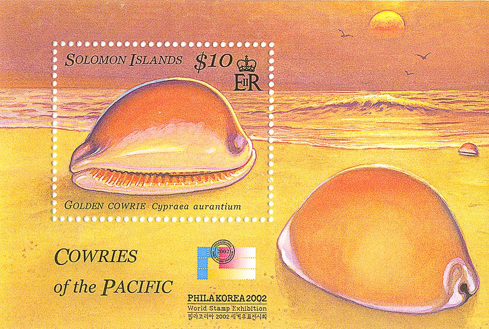 Почтовый блок Золотая каури. Соломоновы острова, 2002 год739Почтовый блок Золотая каури. Соломоновы острова, 2002 год. Размер блока: 8.7 х 5.8 см. Размер марки: 3.8 х 3 см. Сохранность хорошая.
