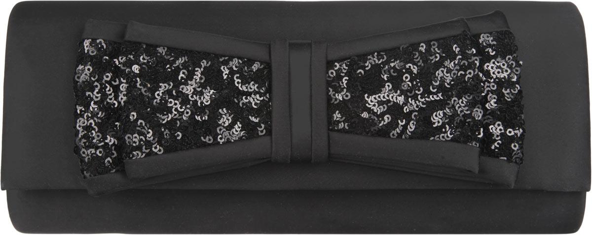 Клатч Fabretti, цвет: черный. WD70907-13WD70907-13-blackЭлегантный вечерний клатч Fabretti выполнен из полиэстера и металла. Изделие оформлено оригинальным бантом из текстиля, который дополнен пайетками. Изделие содержит одно отделение и закрывается клапаном на магнитную кнопку. Внутри расположен накладной карман. Клатч оснащен укороченным наплечным ремнем-цепочкой. Клатч Fabretti прекрасно завершит ваш праздничный образ.