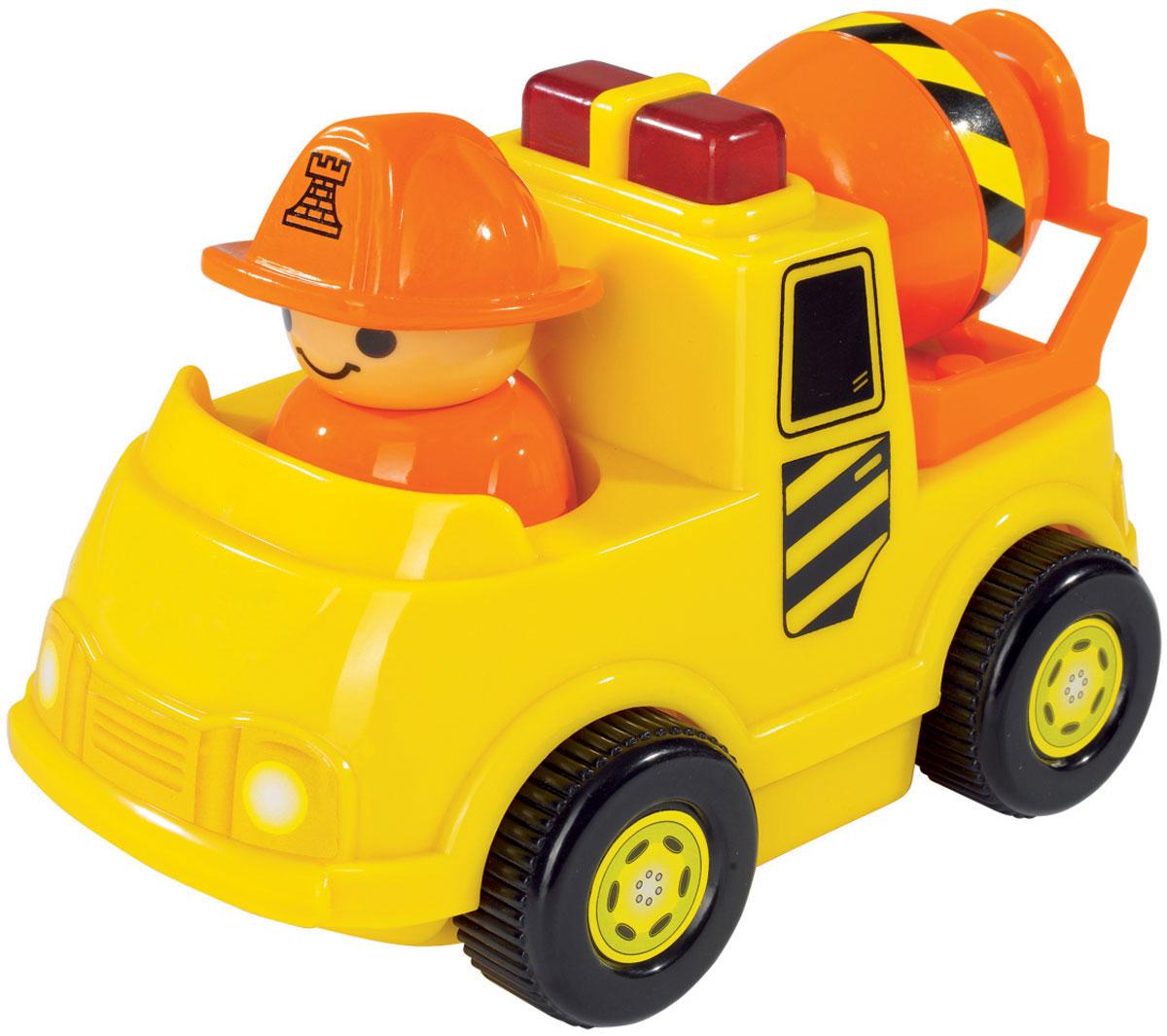 Simba Мини-машинка цвет цвет желтый4019623_желтыйМини-машинка Simba обязательно придется по душе вашему малышу. Игрушка представлена в виде яркой бетономешалки с человечком в оранжевой каске. Машинка не имеет острых углов и мелких деталей и идеально подходит для детей от 12 месяцев. При нажатии на мигалку машины срабатывают звуковые и световые эффекты, а при движении фигурка человечка начинает покачиваться из стороны в сторону. Такая игрушка способствует развитию у малыша тактильных ощущений, мелкой моторики рук и координации движений. Рекомендуется докупить 2 батарейки напряжением 1,5V типа АА (товар комплектуется демонстрационными).