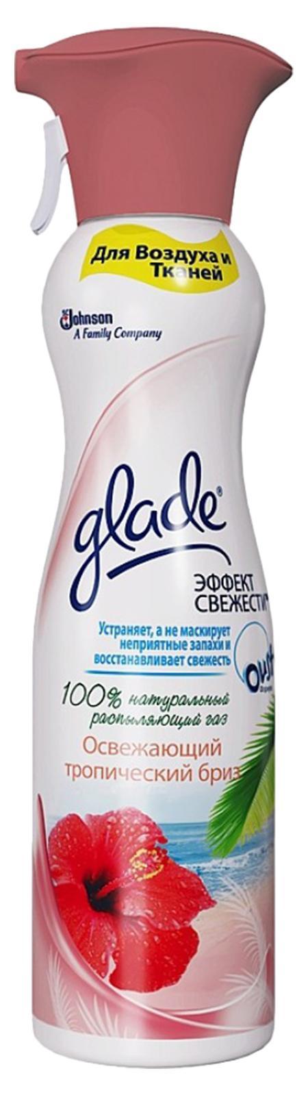 Освежитель воздуха Glade Тропический Бриз, эффект свежести для воздуха и тканей, 275 мл658786Содержит 100% натуральный распыляющий газ. Устраняет,а не маскирует неприятный запахи и восстанавливает свежесть. Имеет большую линейку восхитительный ароматов. Имеет премиальный внешний вид и может быть использован в любом жилом помещении. Подходит для воздуха и тканей.