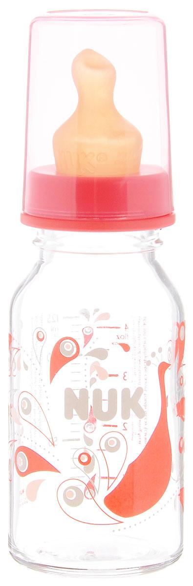 NUK Бутылочка для кормления стеклянная с латексной соской от 0 до 6 месяцев цвет красный 125 мл