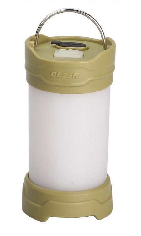 Фонарь кемпинговый Fenix CL25R оливковыйCL25RGФонарь Fenix CL25R предназначен для освещения территории кемпинга. Поэтому он производит мягкий, не ослепляющий свет, который свободно распространяется сразу во все стороны от фонаря. Максимально возможная яркости - 350 люмен. В таком режиме освещается пространство диаметром 25 м. Однако для того, чтобы пользователи могли подобрать оптимальный вариант освещения, Fenix CL25R работает еще в трех режимах освещения белым светом - с яркостью 200 люмен, 50 люмен и 0.8 люмен. Последний режим называется Moonlight и подходит для подсвечивания внутреннего пространства палатки. В дополнение к перечисленным режимам, Fenix CL25R может предложить еще два, в работе которых задействованы светодиоды красного цвета. Яркость освещения в каждом из них составляет 1,5 люмена. Первый режим дает постоянный красный свет и также подходит в качестве внутреннего освещения палатки, а второй - мигающий и предназначенный для подачи сигналов. Время работы фонаря до замены элемента питания зависит как от...