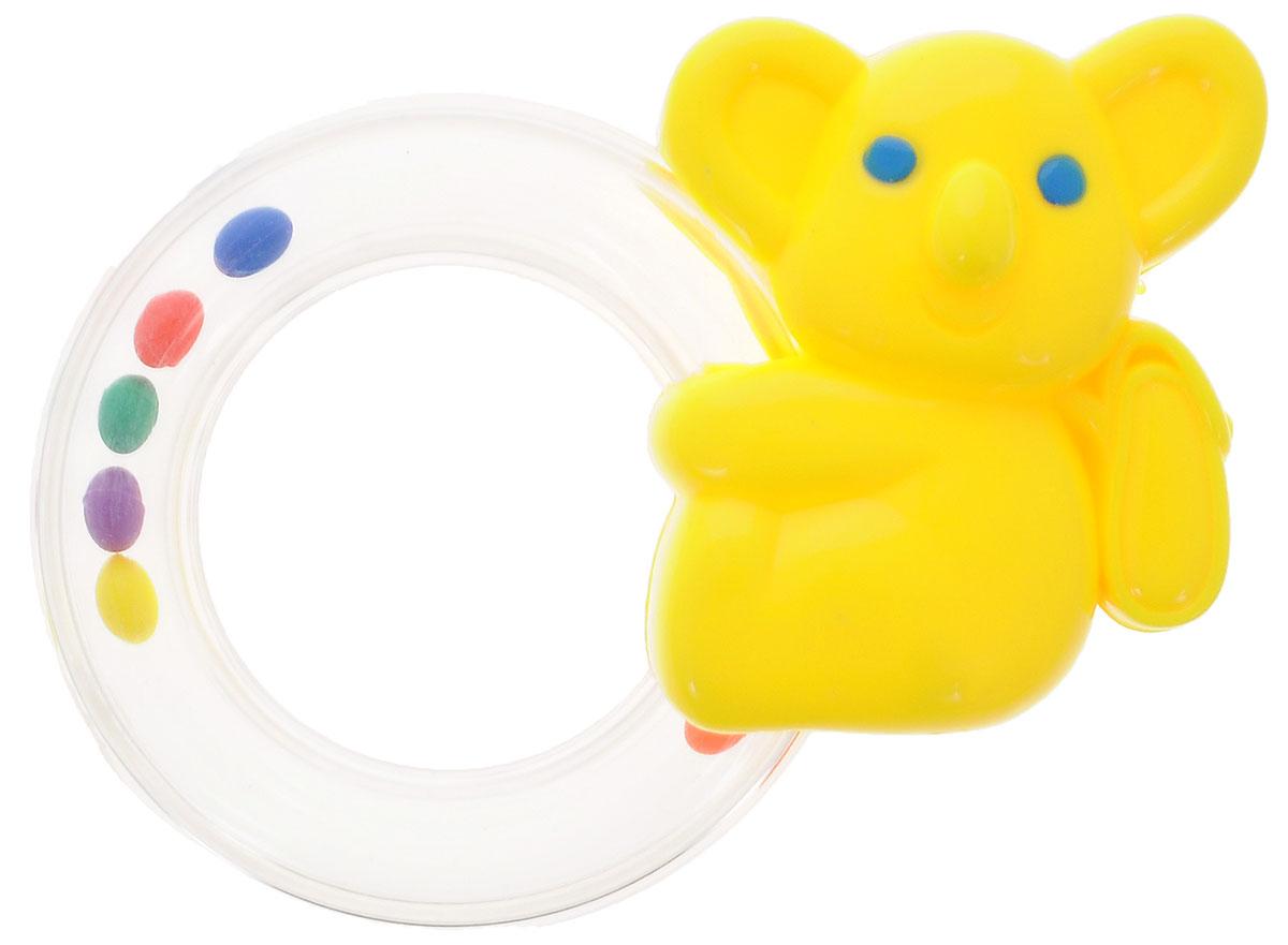 Расти малыш Погремушка Коала1816B_желтыйЯркая игрушка-погремушка Коала привлечет внимание вашего малыша и не позволит ему скучать. Игрушка представляет собой коалу с кольцом, внутри которого расположены маленькие цветные шарики, выполняющие роль погремушки. Погремушку удобно хватать и держать. Игра с погремушкой поможет малышу развить слуховое и цветовое восприятия, мелкую моторику рук и концентрацию внимания, стимулирует взаимодействие между органами осязания, слухом и зрением, учит различать формы и цвета.