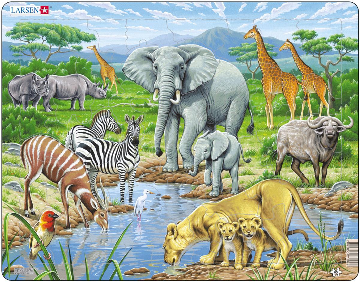 Larsen Пазл Африканская саваннаFH9Пазл Larsen Африканская саванна станет отличным развлечением для вашего ребенка. Пазл позволит ребенку собрать красочную картинку и познакомиться с обитателями африканских джунглей. Выполненные из высококачественного трехслойного картона, пазлы Larsen не деформируются. Все пазлы снабжены специальной подложкой, благодаря чему их удобно собирать. Игра с пазлами благоприятно влияет на развитие ребенка. Веселая игра сопровождается манипуляциями с мелкими предметами, сопоставлением и сложением деталей, в результате чего развивается сенсорное восприятие и мелкая моторика. Порадуйте своего малыша таким замечательным подарком!