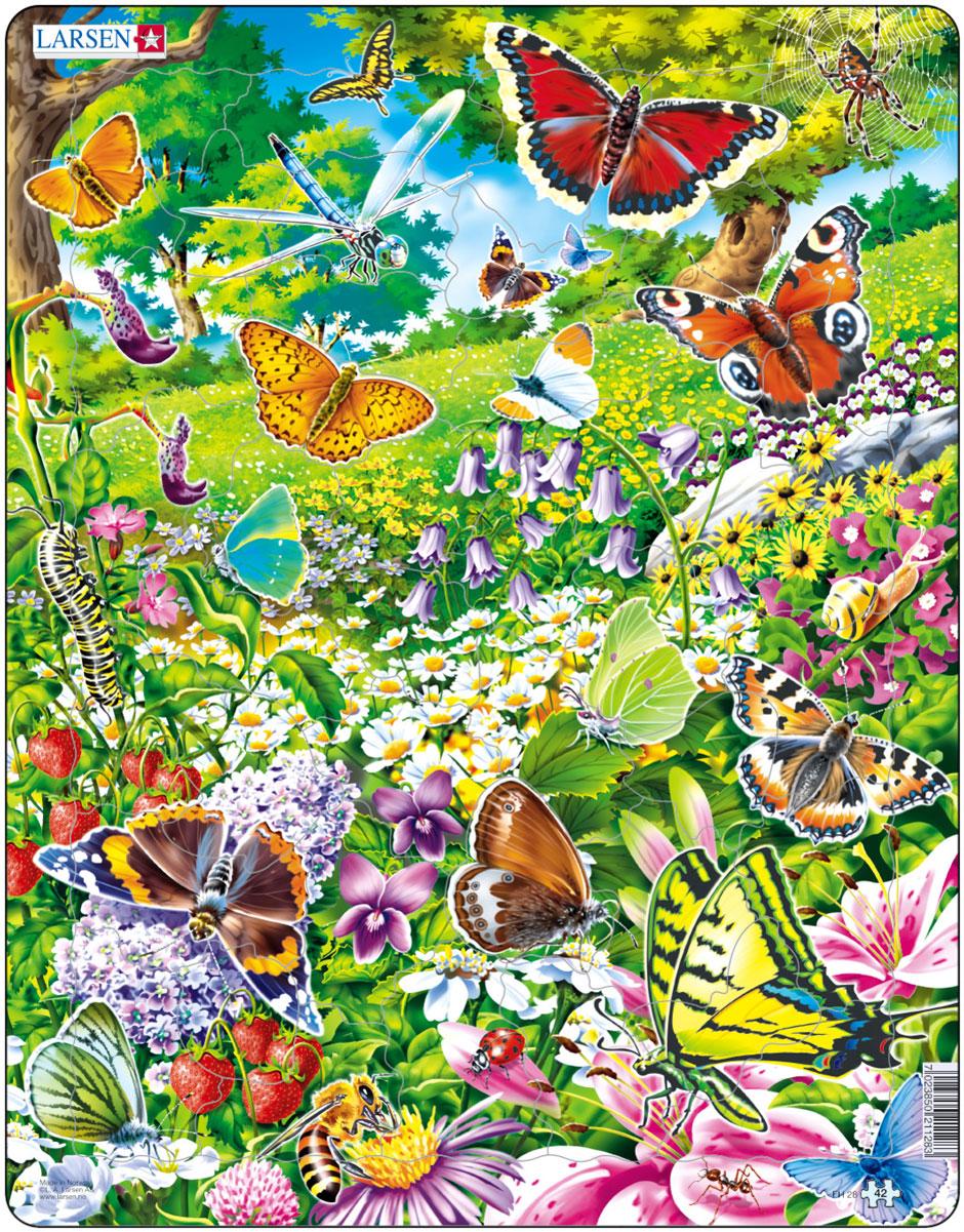 Larsen Пазл БабочкиFH28Пазл Larsen Бабочки станет отличным развлечением для вашего ребенка. Пазл позволит ребенку собрать красочную картинку с изображением великолепных бабочек на цветущей лесной поляне. С помощью яркой картинки ребенок сможет поближе узнать мир насекомых и растений. Выполненные из высококачественного трехслойного картона, пазлы Larsen не деформируются. Все пазлы снабжены специальной подложкой, благодаря чему их удобно собирать. Игра с пазлами благоприятно влияет на развитие ребенка. Веселая игра сопровождается манипуляциями с мелкими предметами, сопоставлением и сложением деталей, в результате чего развивается сенсорное восприятие и мелкая моторика. Порадуйте своего малыша таким замечательным подарком!