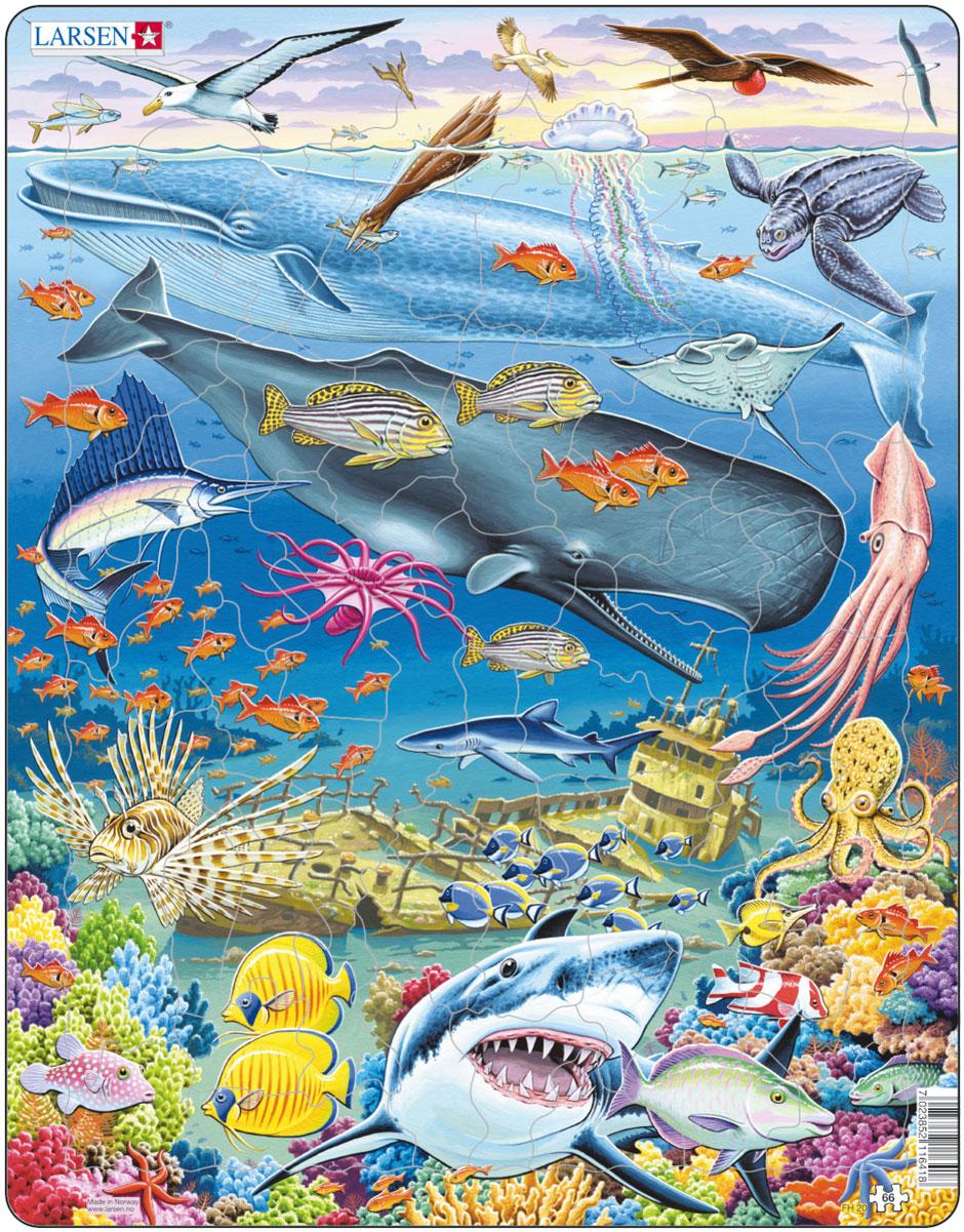 Larsen Пазл КитыFH20Пазл Larsen Киты станет отличным развлечением для вашего ребенка. Пазл позволит ребенку собрать красочную картинку, на которой представлены морские обитатели. С помощью яркой картинки ребенок сможет познакомиться с разнообразными видами китов, а также других животных и рыб. Выполненные из высококачественного трехслойного картона, пазлы Larsen не деформируются. Все пазлы снабжены специальной подложкой, благодаря чему их удобно собирать. Игра с пазлами благоприятно влияет на развитие ребенка. Веселая игра сопровождается манипуляциями с мелкими предметами, сопоставлением и сложением деталей, в результате чего развивается сенсорное восприятие и мелкая моторика. Порадуйте своего малыша таким замечательным подарком!