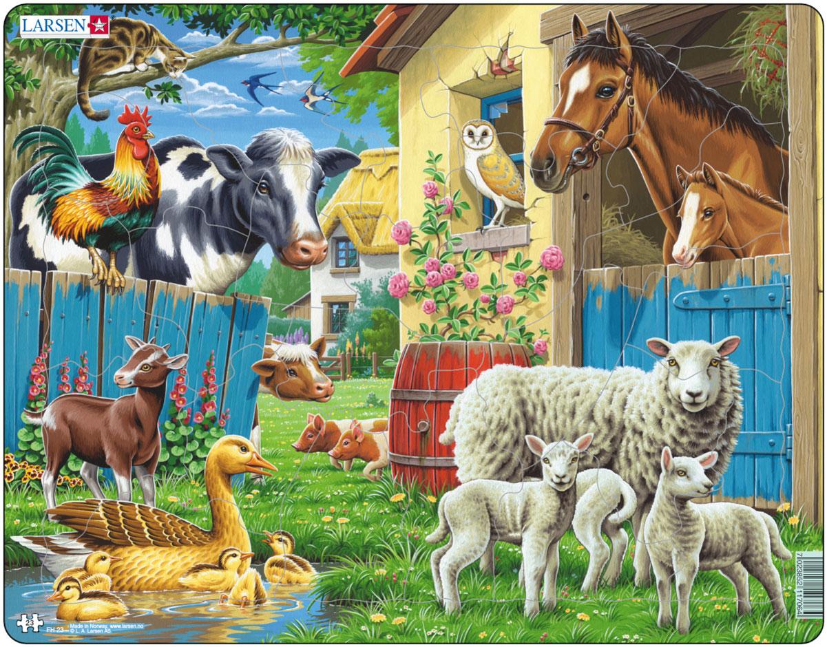 Larsen Пазл Животные фермыFH23Пазл Larsen Животные фермы станет отличным развлечением для вашего ребенка. Пазл позволит ребенку собрать красочную картинку, на которой представлены различные животные. С помощью яркой картинки ребенок сможет познакомиться с обитателями скотного двора. Выполненные из высококачественного трехслойного картона, пазлы Larsen не деформируются. Все пазлы снабжены специальной подложкой, благодаря чему их удобно собирать. Игра с пазлами благоприятно влияет на развитие ребенка. Веселая игра сопровождается манипуляциями с мелкими предметами, сопоставлением и сложением деталей, в результате чего развивается сенсорное восприятие и мелкая моторика. Порадуйте своего малыша таким замечательным подарком!
