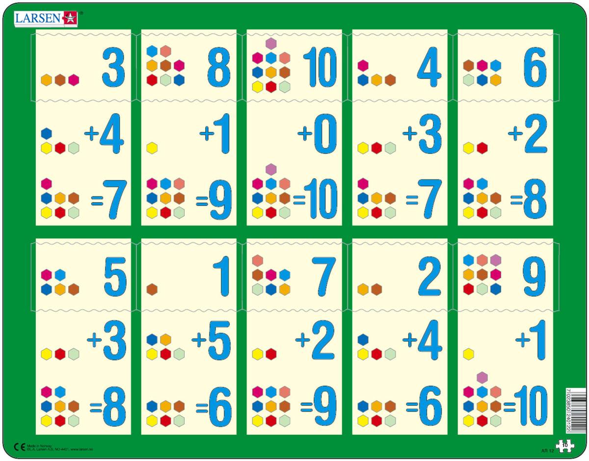 Larsen Пазл Сложение 1-10bAR12Пазлы Ларсен направлены, прежде всего, на обучение. Пазл Larsen Сложение 1-10b в игровой форме знакомит детей с правилами сложения. Сам пример отпечатан на картоне, а детям необходимо найти правильный ответ. Данный пазл является прекрасным дополнением к пазлам Сложение 1-10а и Сложение 1-10c. Выполненные из высококачественного трехслойного картона, пазлы не деформируются и легко берутся в руки. Все пазлы снабжены специальной подложкой, благодаря чему их удобно собирать. Размер готового пазла: 36,5 см х 28,5 см.