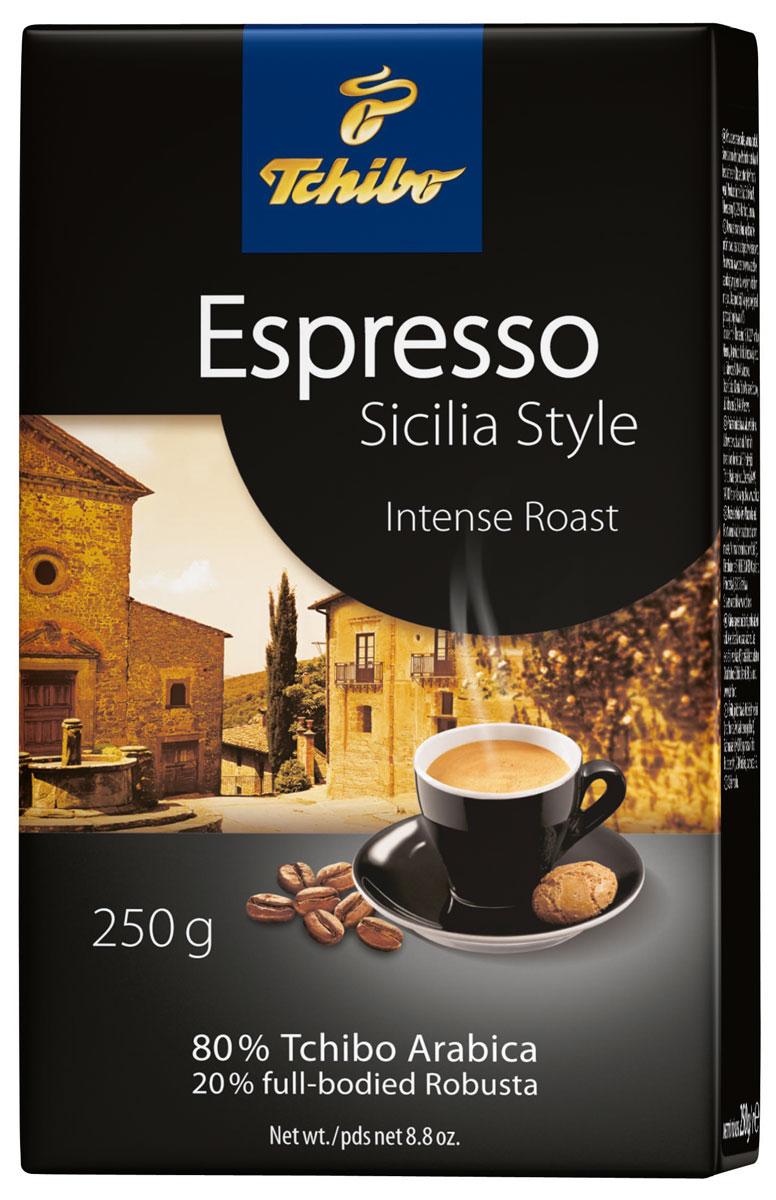 Tchibo Espresso Sicilia Style кофе молотый, 250 г456714Sicilia Style Espresso - это лучшие зерна Tchibo Arabica и высококачественные зерна сорта Робусты, обжаренные специалистами Tchibo методом насыщенной обжарки и искусно смешенные в традициях южной Италии, что придает этому кофе типичный сицилийский характер с крепкими терпкими нотками вкуса, насыщенным глубоким ароматом и легкой бархатной пенкой.