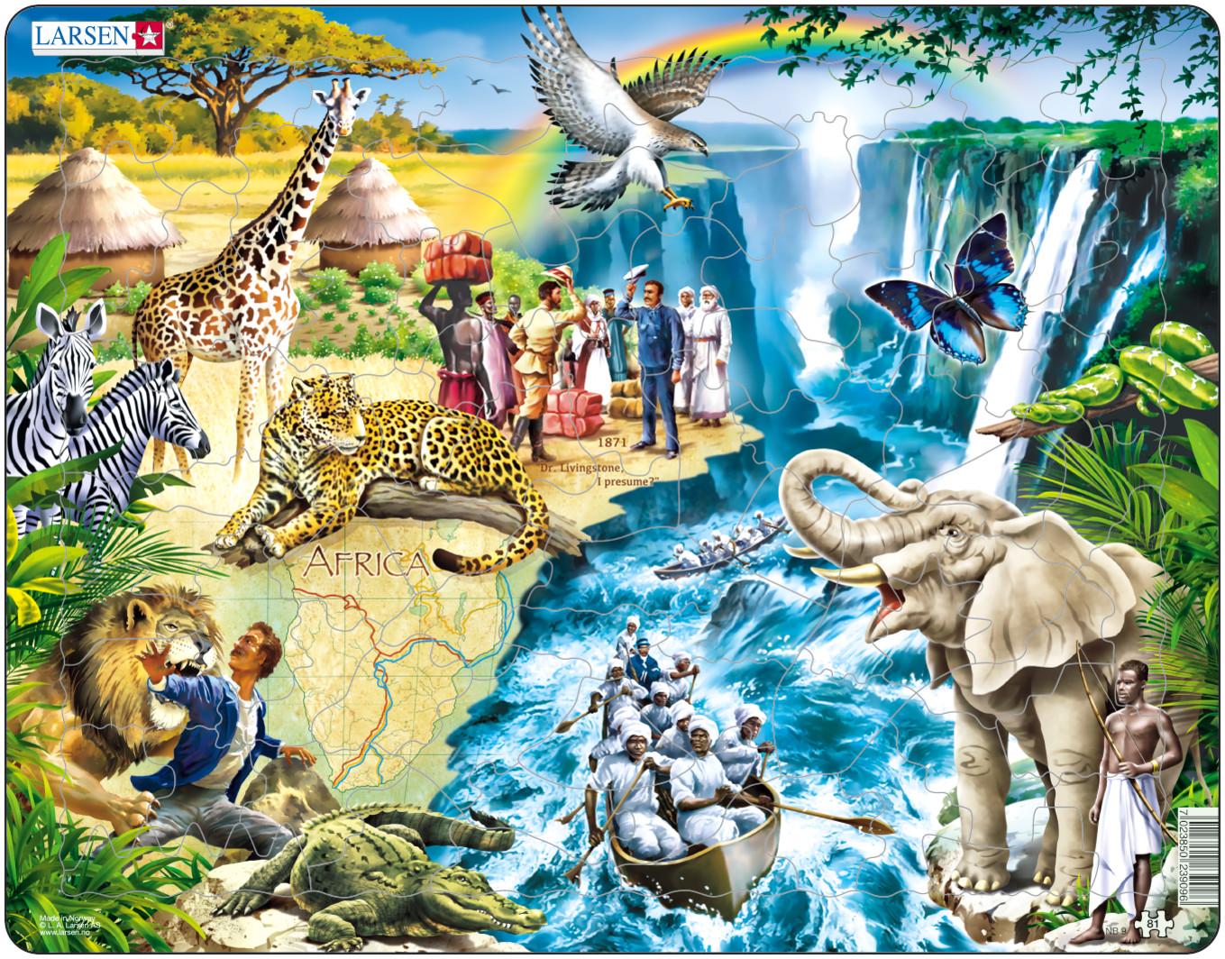 Larsen Пазл Дэвид ЛивингстоунNB9Пазл Larsen Дэвид Ливингстоун станет отличным развлечением для вашего ребенка. Пазл позволит ребенку собрать красочную картинку, посвященную великому шотландскому исследователю Африки Дэвиду Ливингстону. На пазле изображены различные африканские животные и аборигены на фоне прекрасного пейзажа. Выполненные из высококачественного трехслойного картона, пазлы Larsen не деформируются. Все пазлы снабжены специальной подложкой, благодаря чему их удобно собирать. Игра с пазлами благоприятно влияет на развитие ребенка. Веселая игра сопровождается манипуляциями с мелкими предметами, сопоставлением и сложением деталей, в результате чего развивается сенсорное восприятие и мелкая моторика. Порадуйте своего малыша таким замечательным подарком!