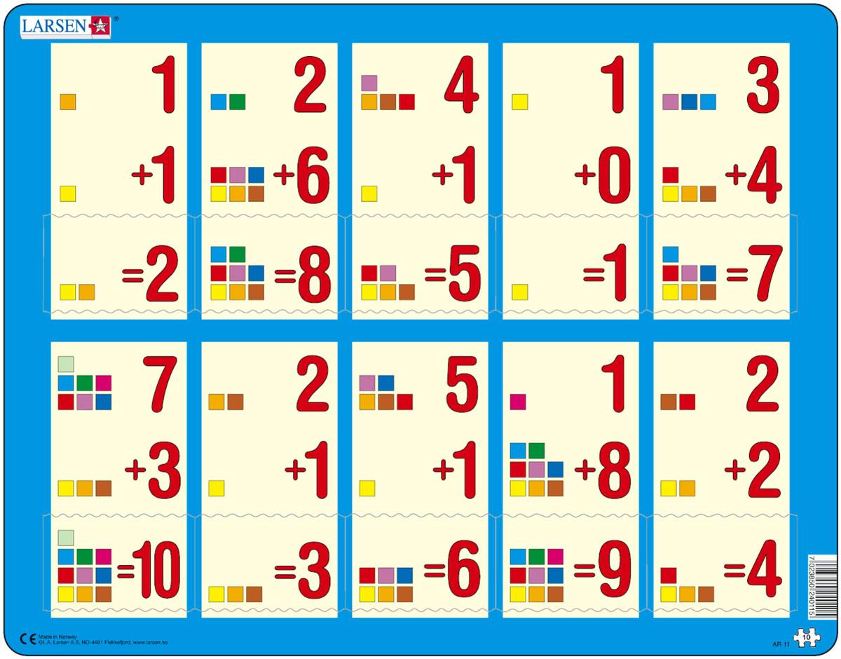 Larsen Пазл Сложение 1-10аAR11Пазлы Ларсен направлены, прежде всего, на обучение. Пазл Larsen Сложение 1-10а в игровой форме знакомит детей с правилами сложения. Сам пример отпечатан на картоне, а детям необходимо найти правильный ответ. Данный пазл является прекрасным дополнением к Сложение 1-10b и Сложение 1-10c. Выполненные из высококачественного трехслойного картона, пазлы не деформируются и легко берутся в руки. Все пазлы снабжены специальной подложкой, благодаря чему их удобно собирать. Размер готового пазла: 36,5 см х 28,5 см.