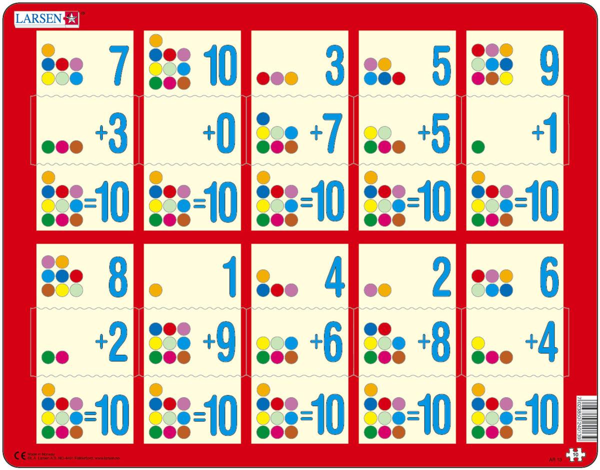 Larsen Пазл Сложение 1-10сAR13Пазлы Ларсен направлены, прежде всего, на обучение. Пазл Larsen Сложение 1-10с в игровой форме знакомит детей с правилами сложения. Сам пример отпечатан на картоне, а детям необходимо найти правильный ответ. Данный пазл является прекрасным дополнением к Сложение 1-10а и Сложение 1-10b. Выполненные из высококачественного трехслойного картона, пазлы не деформируются и легко берутся в руки. Все пазлы снабжены специальной подложкой, благодаря чему их удобно собирать. Размер готового пазла: 36,5 см х 28,5 см.