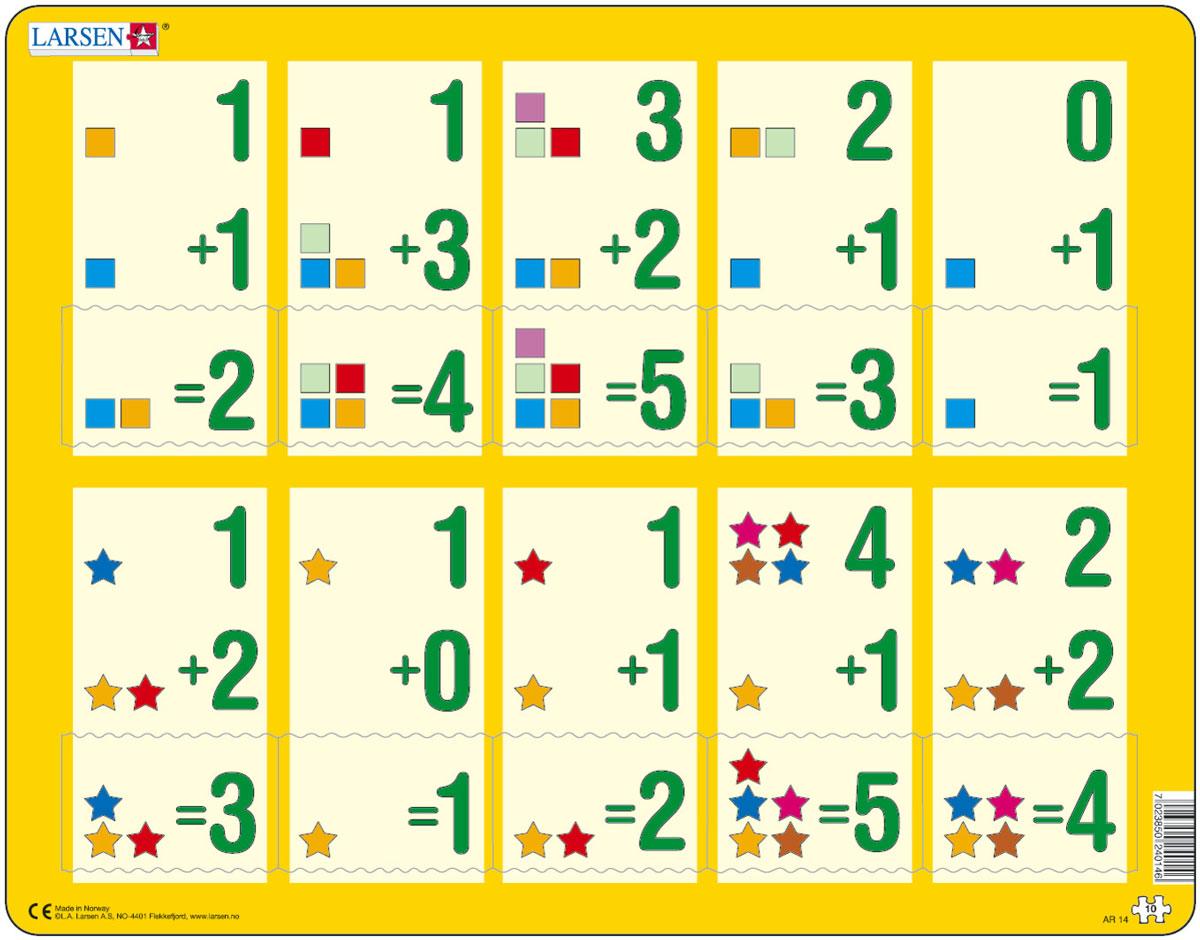 Larsen Пазл Сложение 1-5AR14Пазлы Ларсен направлены, прежде всего, на обучение. Пазл Larsen Сложение 1-5 в игровой форме знакомит детей с правилами сложения. Сам пример отпечатан на картоне, а детям необходимо найти правильный ответ. Выполненные из высококачественного трехслойного картона, пазлы не деформируются и легко берутся в руки. Все пазлы снабжены специальной подложкой, благодаря чему их удобно собирать. Размер готового пазла: 36,5 см х 28,5 см.