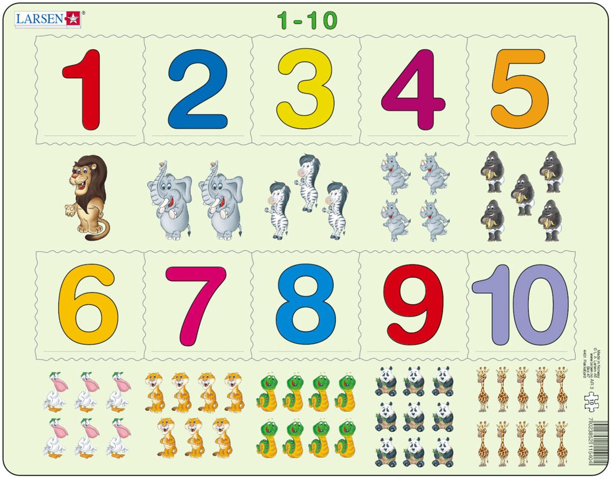 Larsen Пазл От 1 до 10AR3Пазлы Ларсен направлены, прежде всего, на обучение. Пазл Larsen От 1 до 10 предназначен для самых маленьких. На картоне отпечатано десять различных символов, и детям необходимо правильно разместить вырубленные числа от 1 до 10 в соответствии с количеством заданных символов. Выполненные из высококачественного трехслойного картона, пазлы не деформируются и легко берутся в руки. Все пазлы снабжены специальной подложкой, благодаря чему их удобно собирать. Размер готового пазла: 36,5 см х 28,5 см.