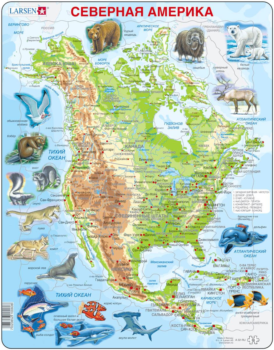 Larsen Пазл Животные Северной АмерикиA32Пазл Larsen Животные Северной Америки станет отличным развлечением для вашего ребенка. Пазл познакомит детей с государствами, расположенными на континенте Северная Америка. На поле и деталях пазла изображен рельеф, нанесены надписи крупных городов и рек, яркие реалистичные изображения птиц и животных, которые сформируют представление о флоре и фауне материка. Выполненные из высококачественного трехслойного картона, пазлы Larsen не деформируются. Все пазлы снабжены специальной подложкой, благодаря чему их удобно собирать. Игра с пазлами благоприятно влияет на развитие ребенка. Веселая игра сопровождается манипуляциями с мелкими предметами, сопоставлением и сложением деталей, в результате чего развивается сенсорное восприятие и мелкая моторика. Порадуйте своего малыша таким замечательным подарком!