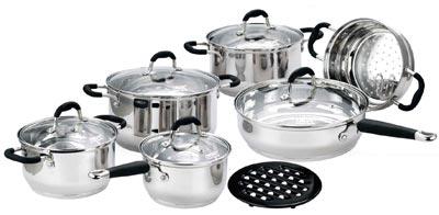 Набор кухонной посуды Calve, цвет: серебристый, 12 предметов. CL-1055CL-1055Набор кухонной посуды Calve состоит из сковороды, трех кастрюль и сотейника с крышками, вставки-пароварки и бакелитовой подставки. Предметы набора выполнены из нержавеющей стали. Изделия имеют удобные ручки эргономичной формы. Надежное крепление ручки гарантирует безопасность использования. Комбинированная крышка из высококачественной нержавеющей стали и жаропрочного стекла позволяет следить за процессом приготовления, не открывая крышки. Специальное отверстие для выхода пара позволяет готовить с закрытой крышкой, предотвращая выкипание. Бакелитовая подставка позволит без опасения поставить изделие на любую поверхность. Подходят для газовых, электрических, стеклокерамических и галогенных плит. Можно мыть в посудомоечной машине и использовать в духовом шкафу. В набор входят: - кастрюля с крышкой, диаметр 24 см, объем 6 л., - кастрюля с крышкой, диаметр 18 см, объем 2,7 л., - кастрюля с крышкой, диаметр 20 см, объем 3,6 л., -...