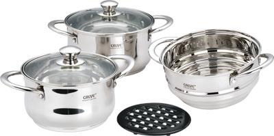 Набор кухонной посуды Calve, с подставкой, цвет: серебристый, 6 предметовCL-1067Набор Calve состоит из 2 кастрюль с крышками, вставки-пароварки и бакелитовой подставки. Изделия изготовлены из высококачественной нержавеющей стали. Зеркальная полировка придает посуде безупречный внешний вид. Благодаря уникальной конструкции дна, тепло, проходя через металл, равномерно распределяется по стенкам посуды. Для приготовления пищи в такой посуде требуется минимальное количество масла, тем самым уменьшается риск потери витаминов и минералов в процессе термообработки продуктов. Крышки выполнены из жаростойкого прозрачного стекла, оснащены ручкой, металлическим ободом и отверстием для выпуска пара. Такие крышки позволяют следить за процессом приготовления пищи без потери тепла. Они плотно прилегают к краю и сохраняют аромат блюд. Бакелитовая подставка позволит без опасения поставить кастрюлю на любую поверхность. Подходит для всех типов плит, включая индукционные. Можно мыть в посудомоечной машине. Объем кастрюль: 3 л; 4 л. ...